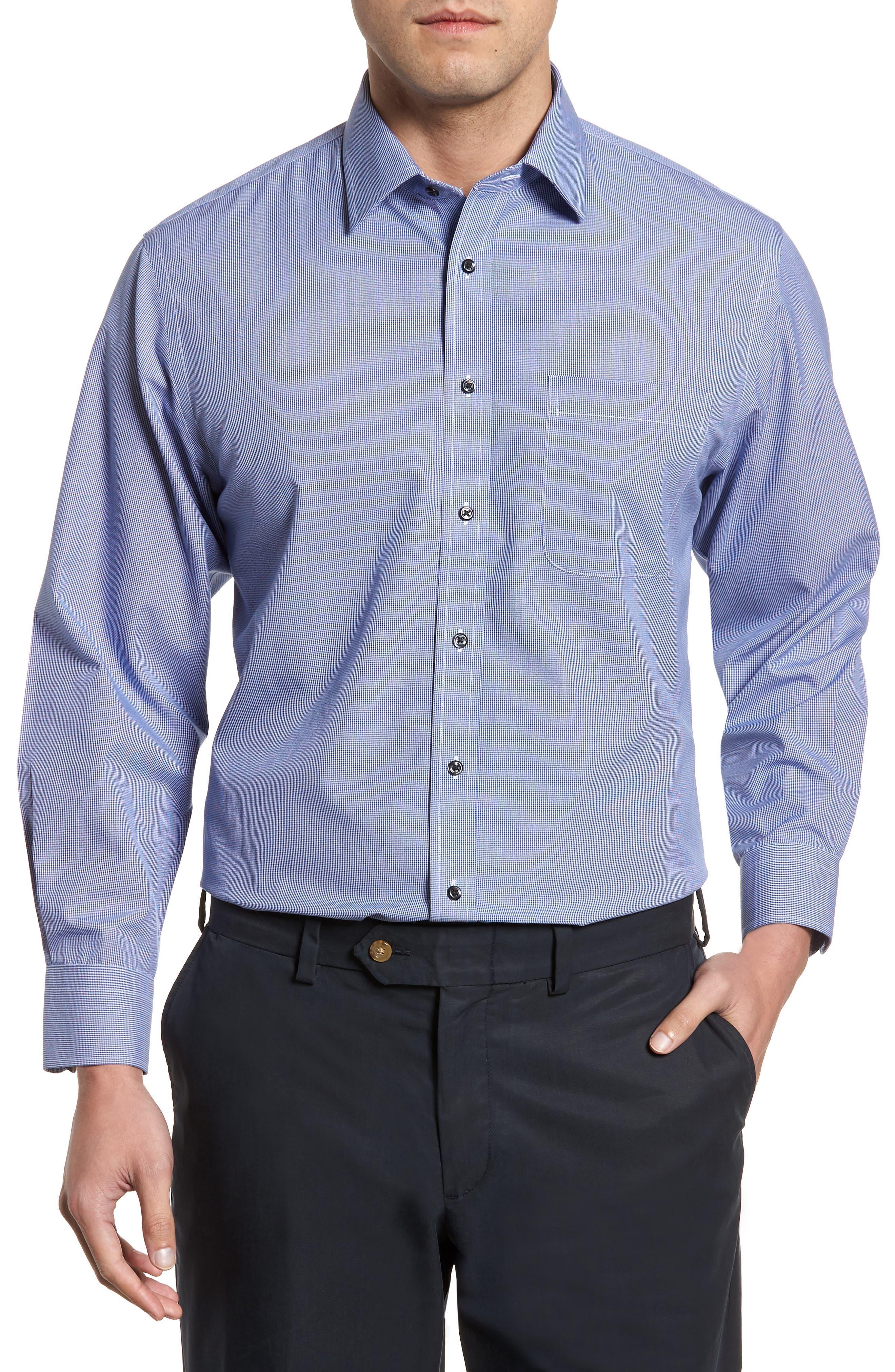 Smartcare<sup>™</sup> Traditional Fit Micro Check Dress Shirt,                             Main thumbnail 1, color,                             Blue Marine