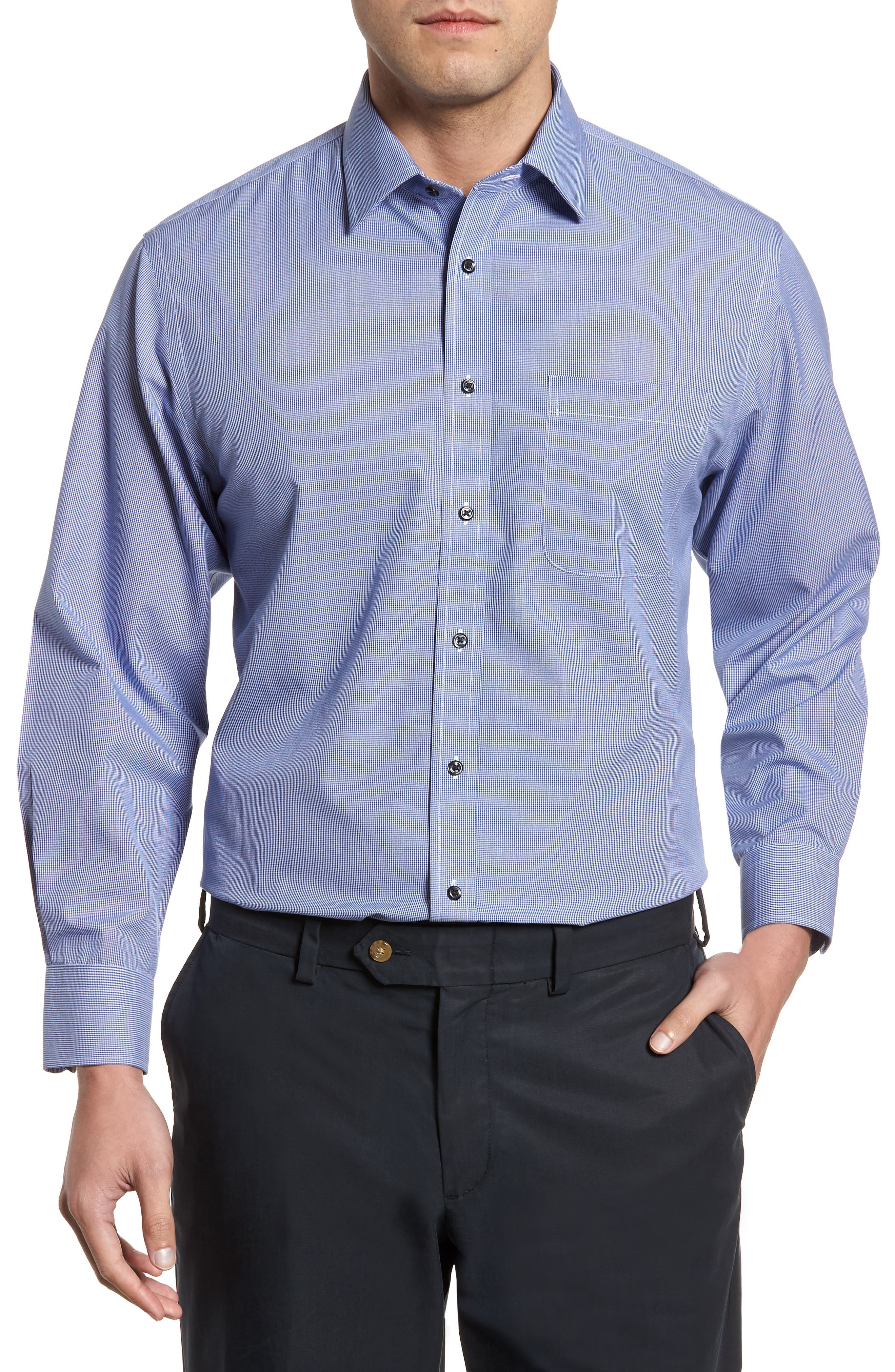 Smartcare<sup>™</sup> Traditional Fit Micro Check Dress Shirt,                         Main,                         color, Blue Marine