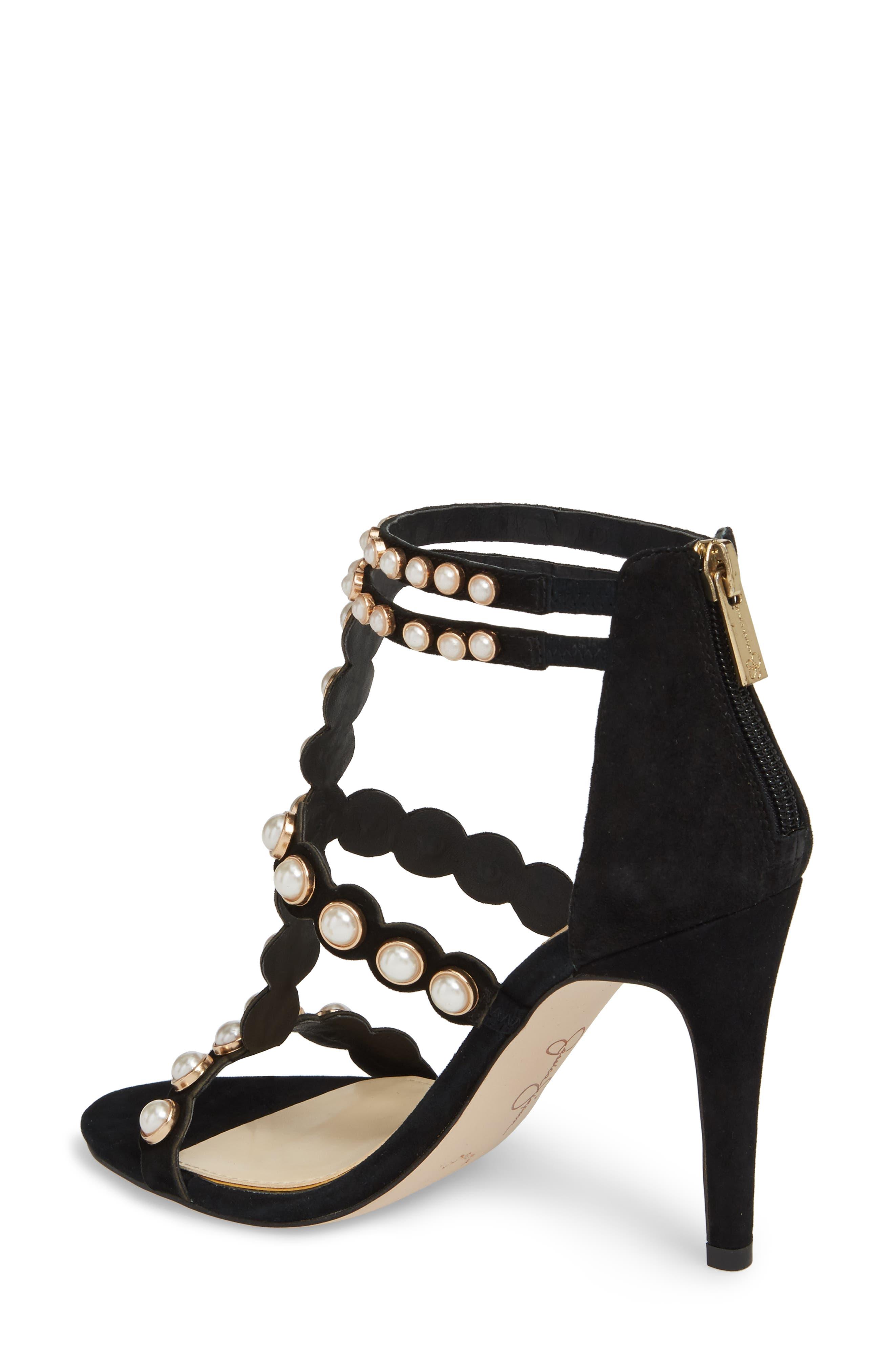 Eleia Imitation Pearl Stud Sandal,                             Alternate thumbnail 2, color,                             Black Suede