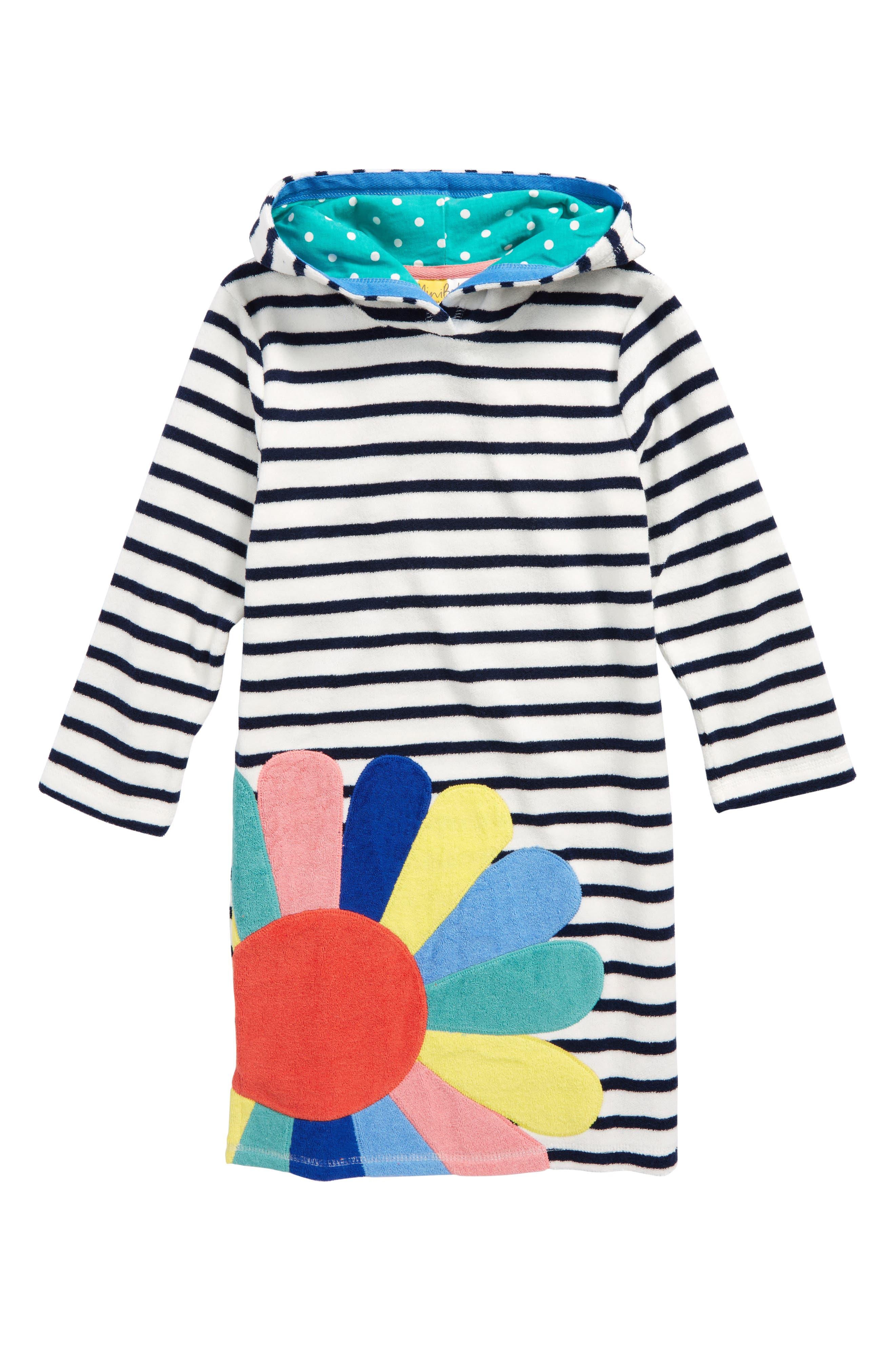 Appliqué Toweling Beach Dress,                             Main thumbnail 1, color,                             Ivory/ School Navy Nav