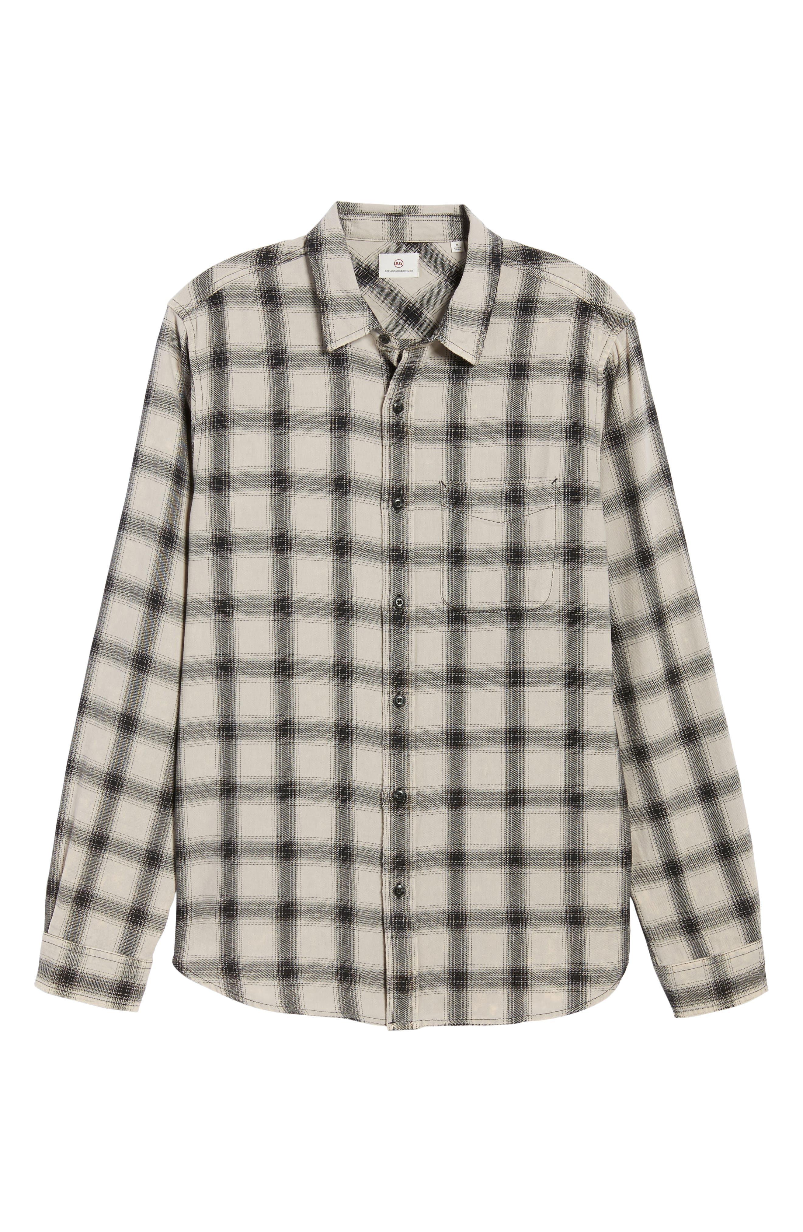 Colton Slim Fit Plaid Sport Shirt,                             Alternate thumbnail 6, color,                             15 Years Mineral Veil/ Black
