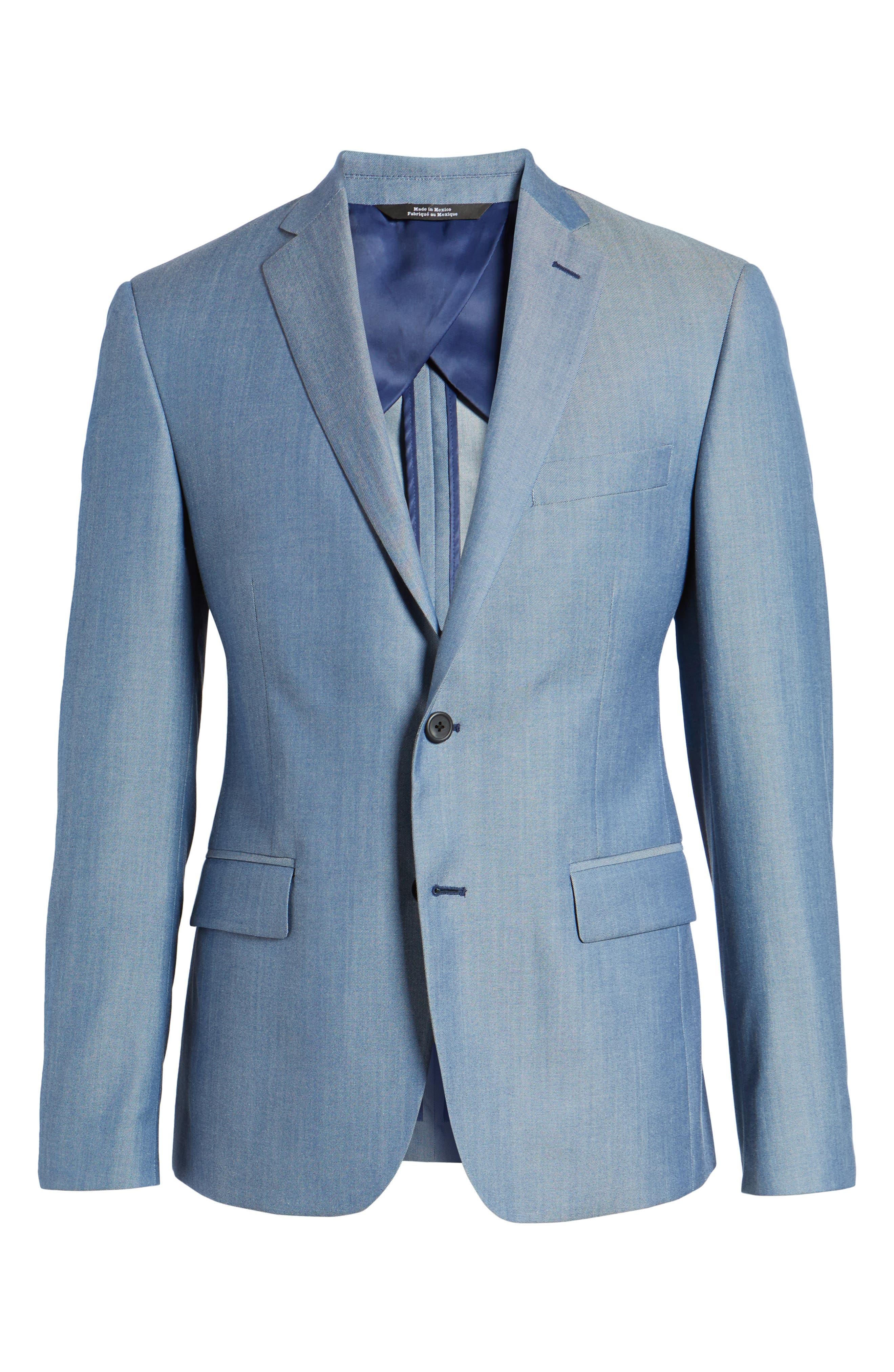 Trim Fit Wool & Cotton Blazer,                             Alternate thumbnail 6, color,                             Blue Denim