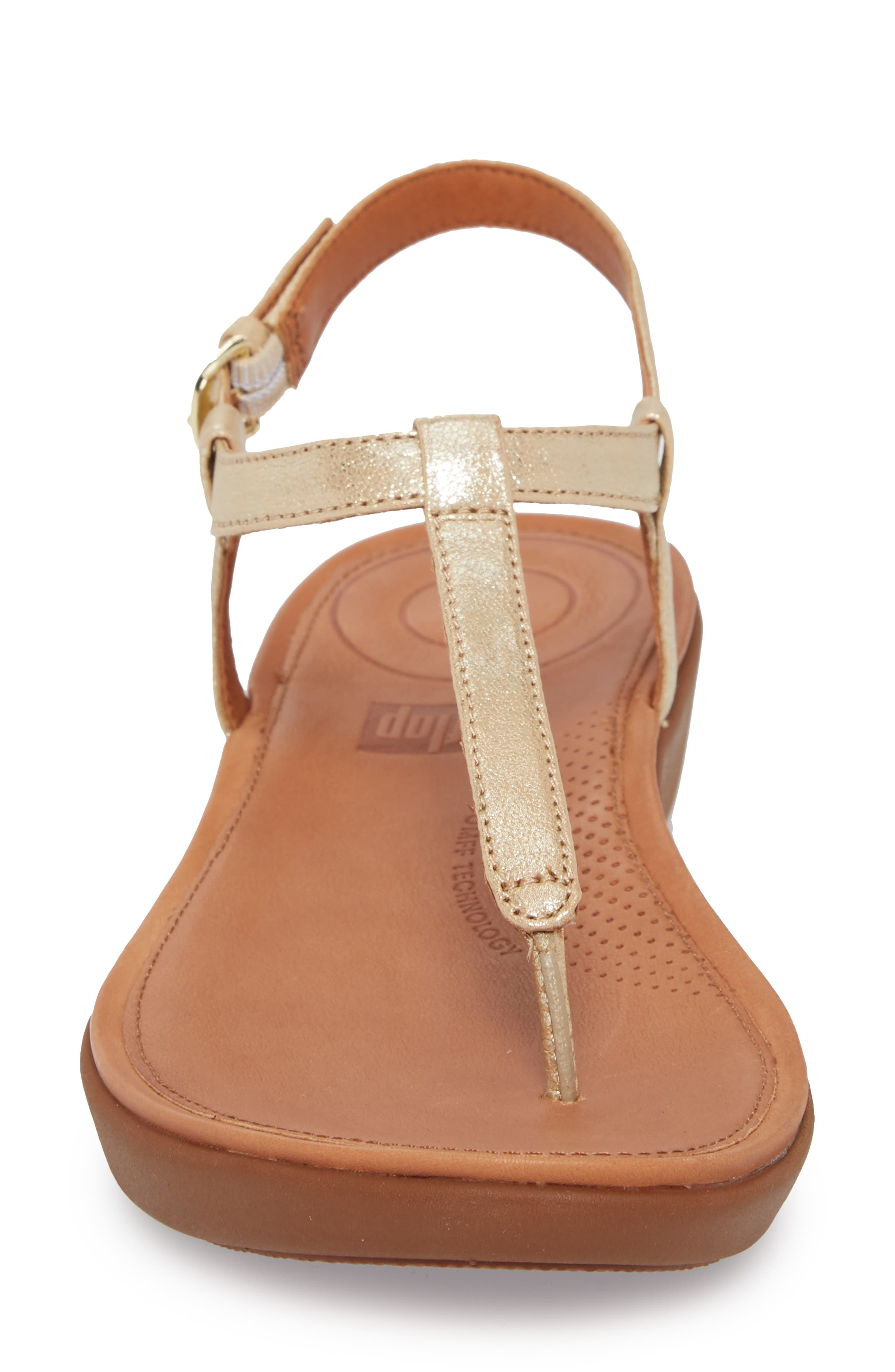 Tia Thong Sandal,                             Alternate thumbnail 4, color,                             Pale Gold Leather