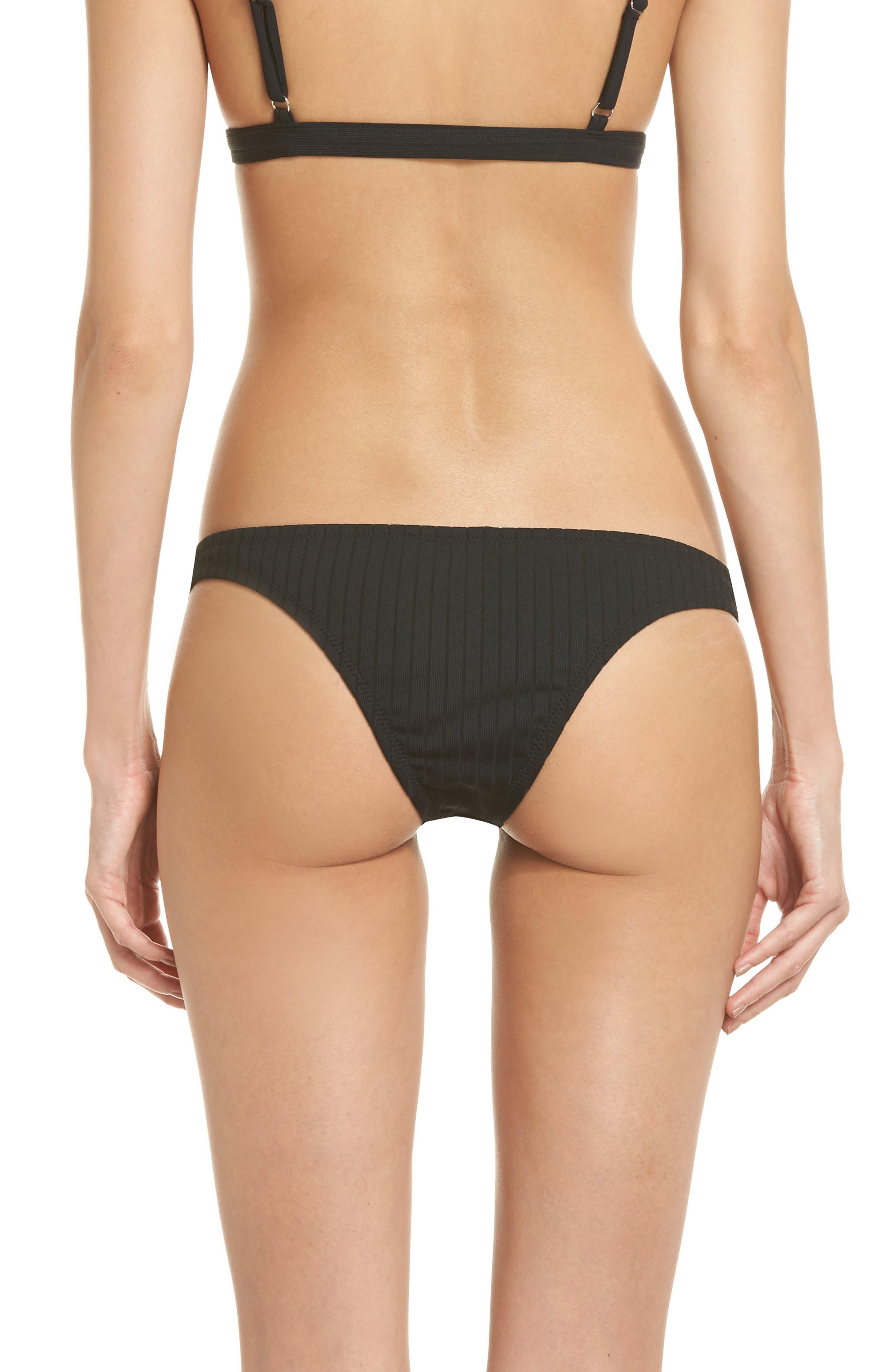 Effie Bikini Bottoms,                             Alternate thumbnail 2, color,                             Black Rib