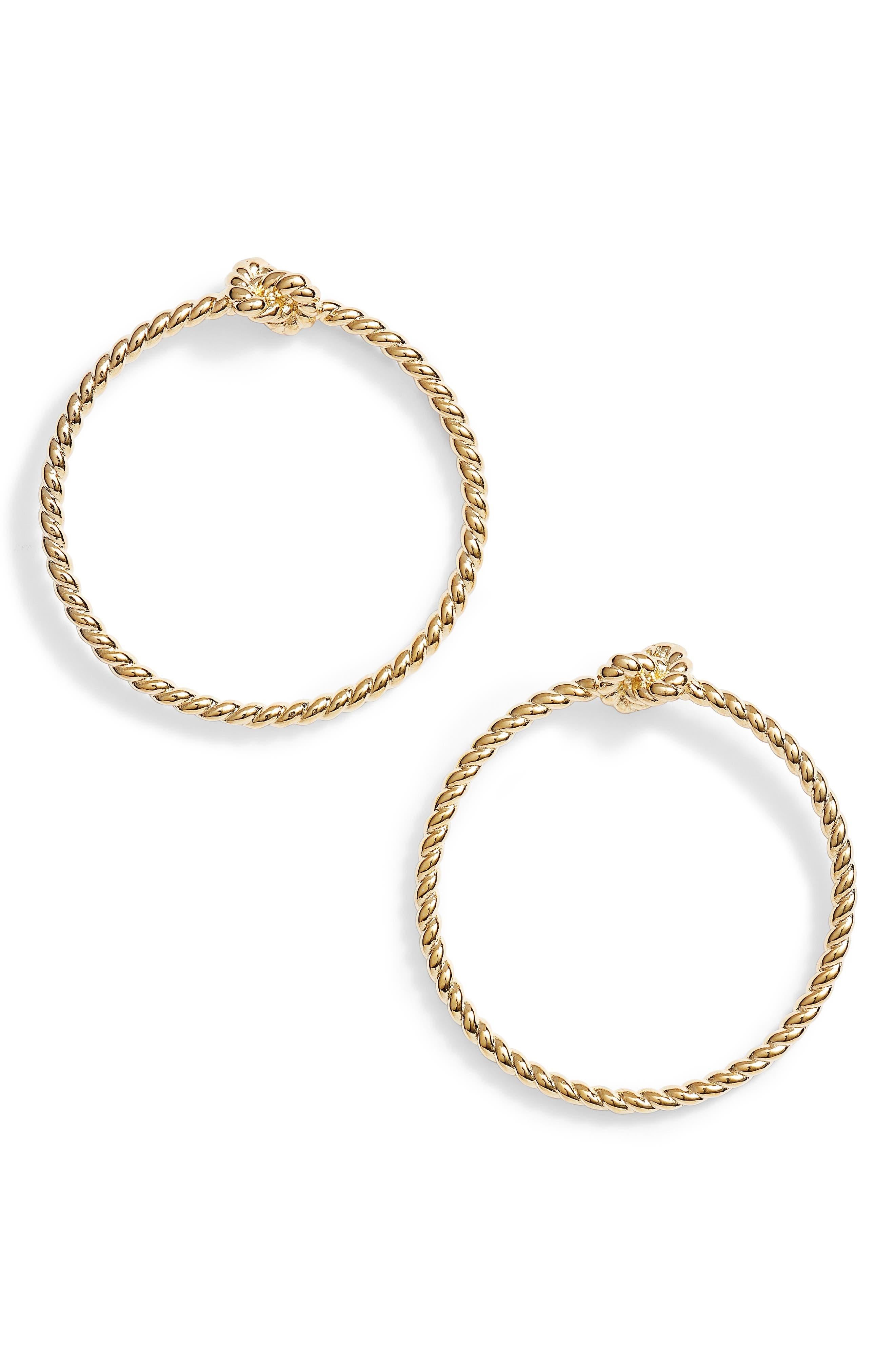 sailor knot door knocker hoop earrings,                         Main,                         color, Gold