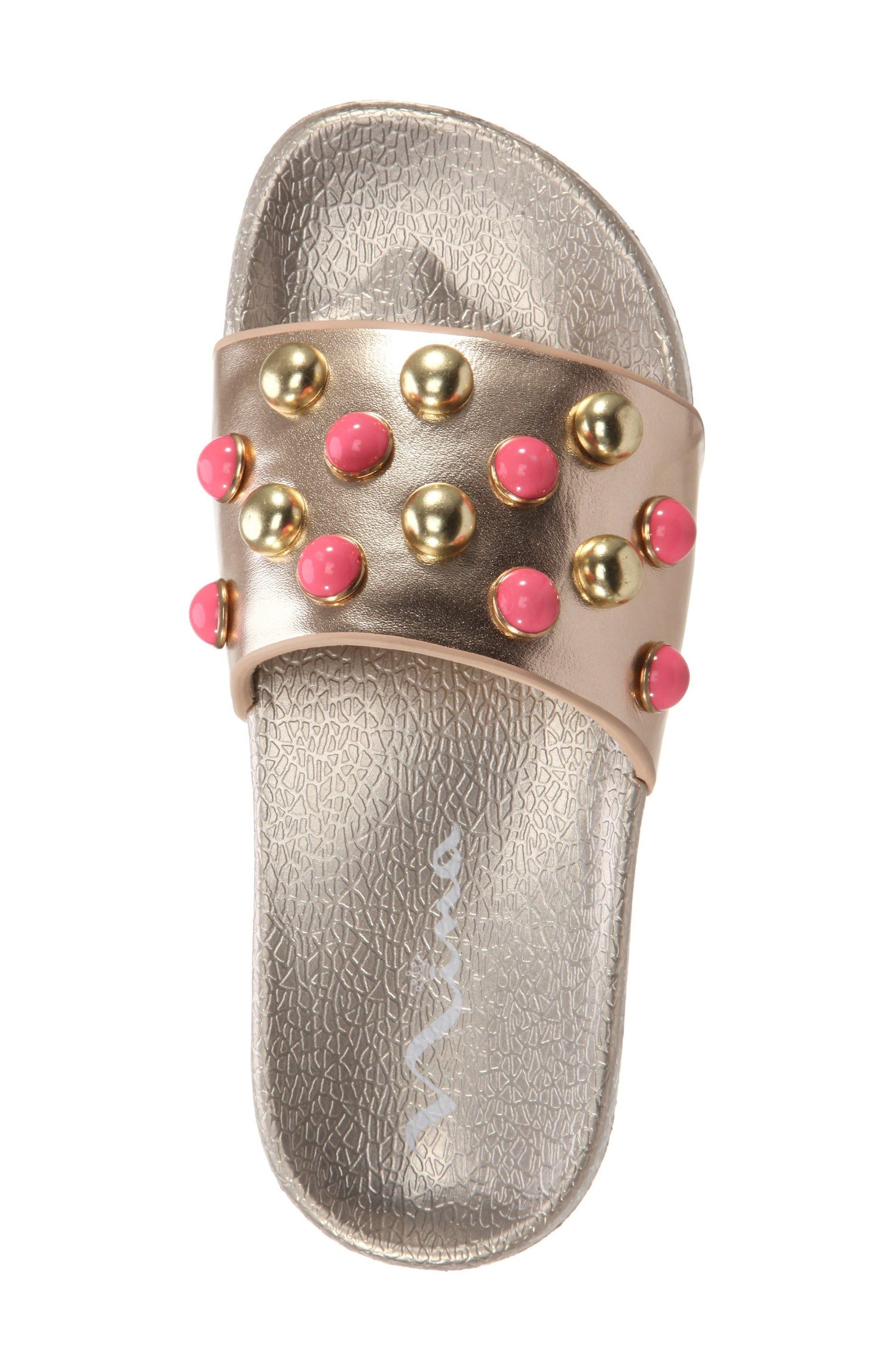 Jeaninne II Metallic Sport Slide Sandal,                             Alternate thumbnail 5, color,                             Platino Metallic