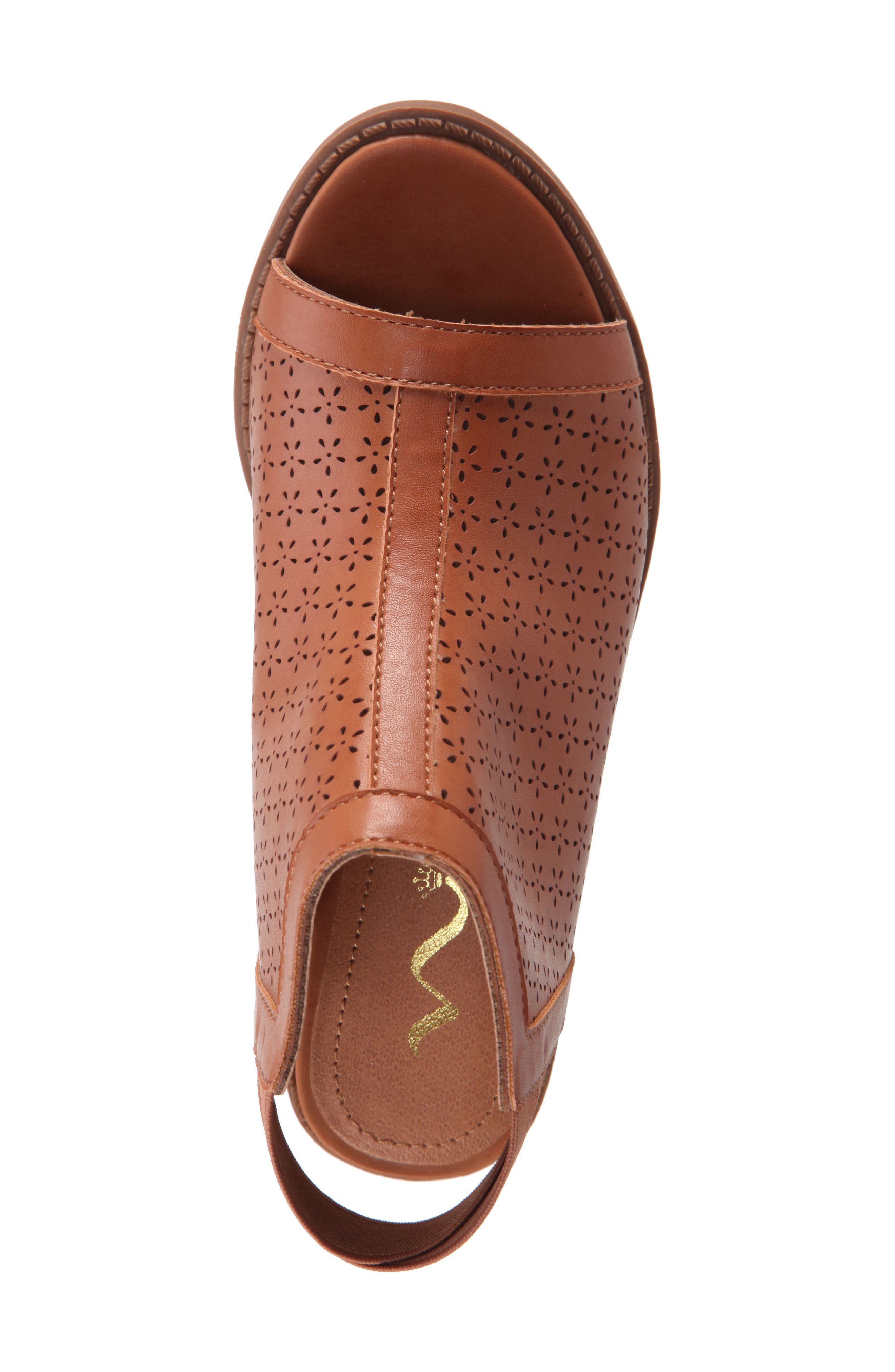 Maya Perforated Peep Toe Bootie,                             Alternate thumbnail 5, color,                             Tan Burnished