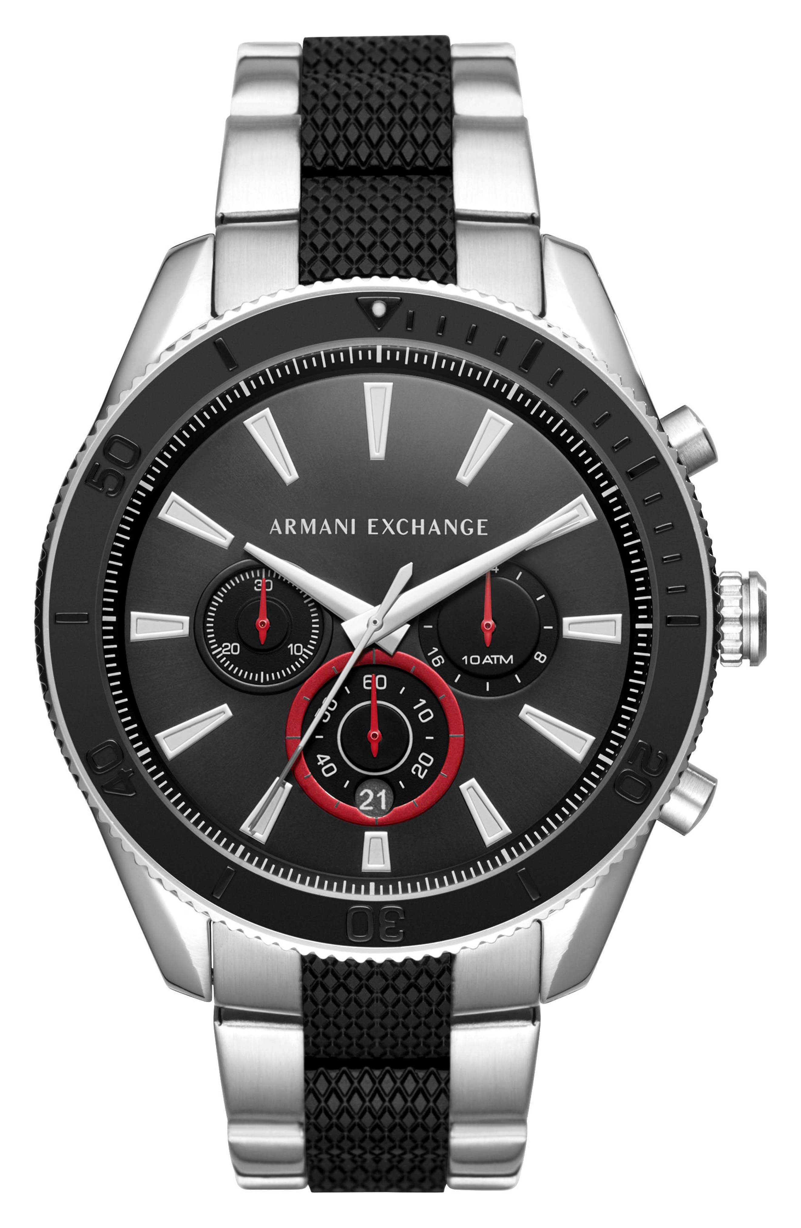 Chronograph Bracelet Watch, 46mm,                         Main,                         color, Black/ Stainless Steel