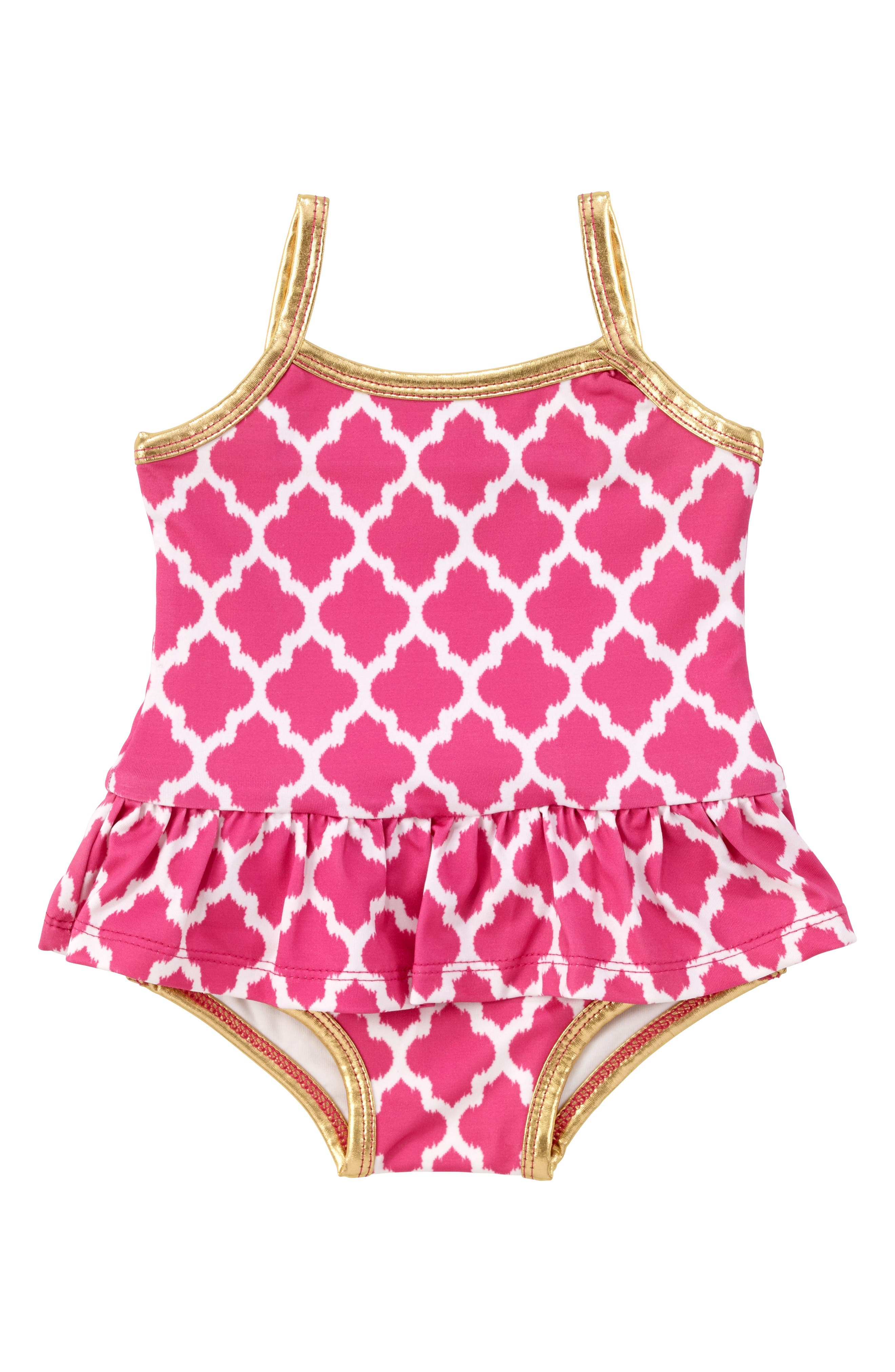 Ruffle One-Piece Swimsuit,                             Main thumbnail 1, color,                             Pink