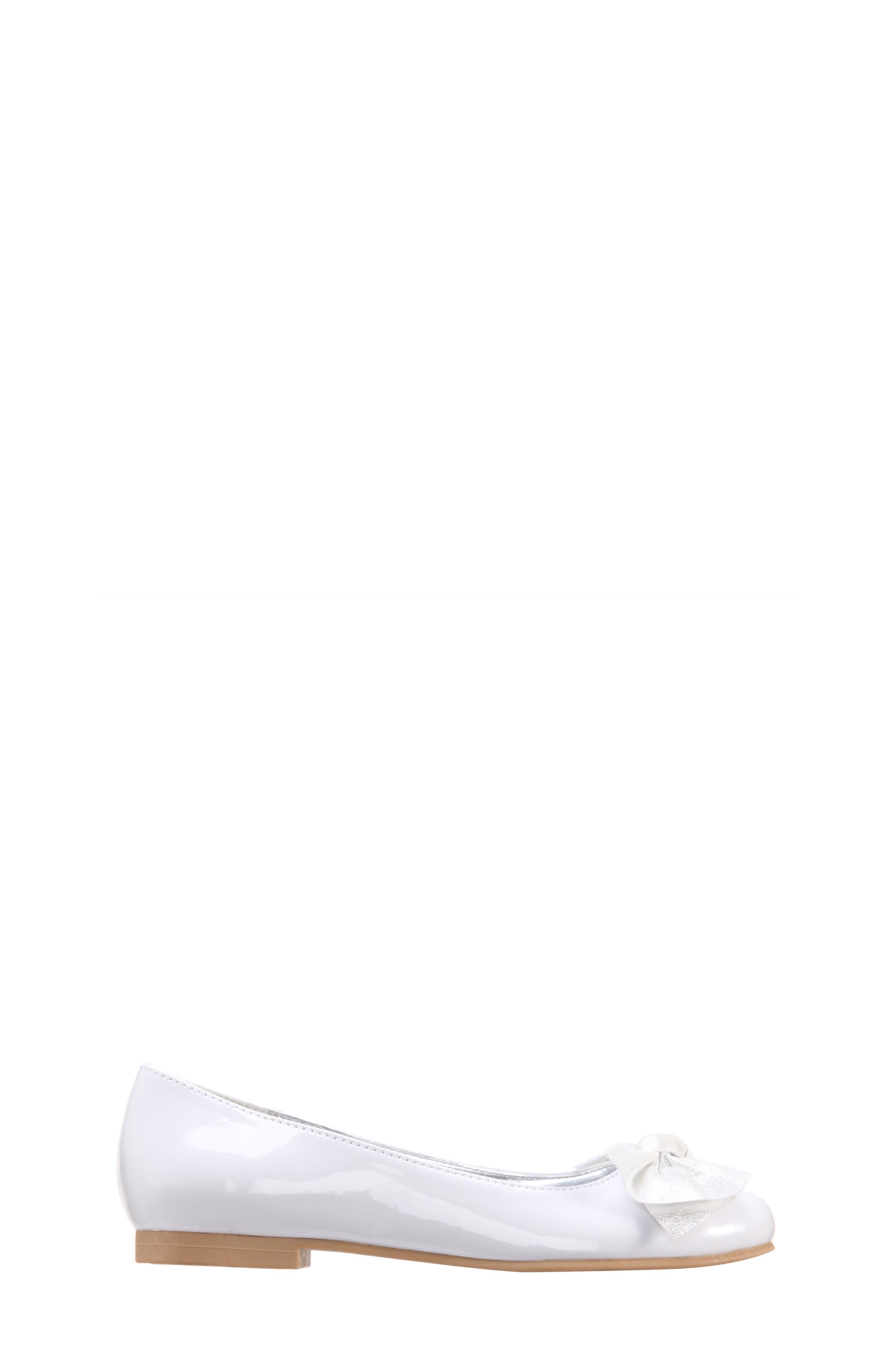 Katelyn Glitter Bow Metallic Ballet Flat,                             Alternate thumbnail 3, color,                             White Patent