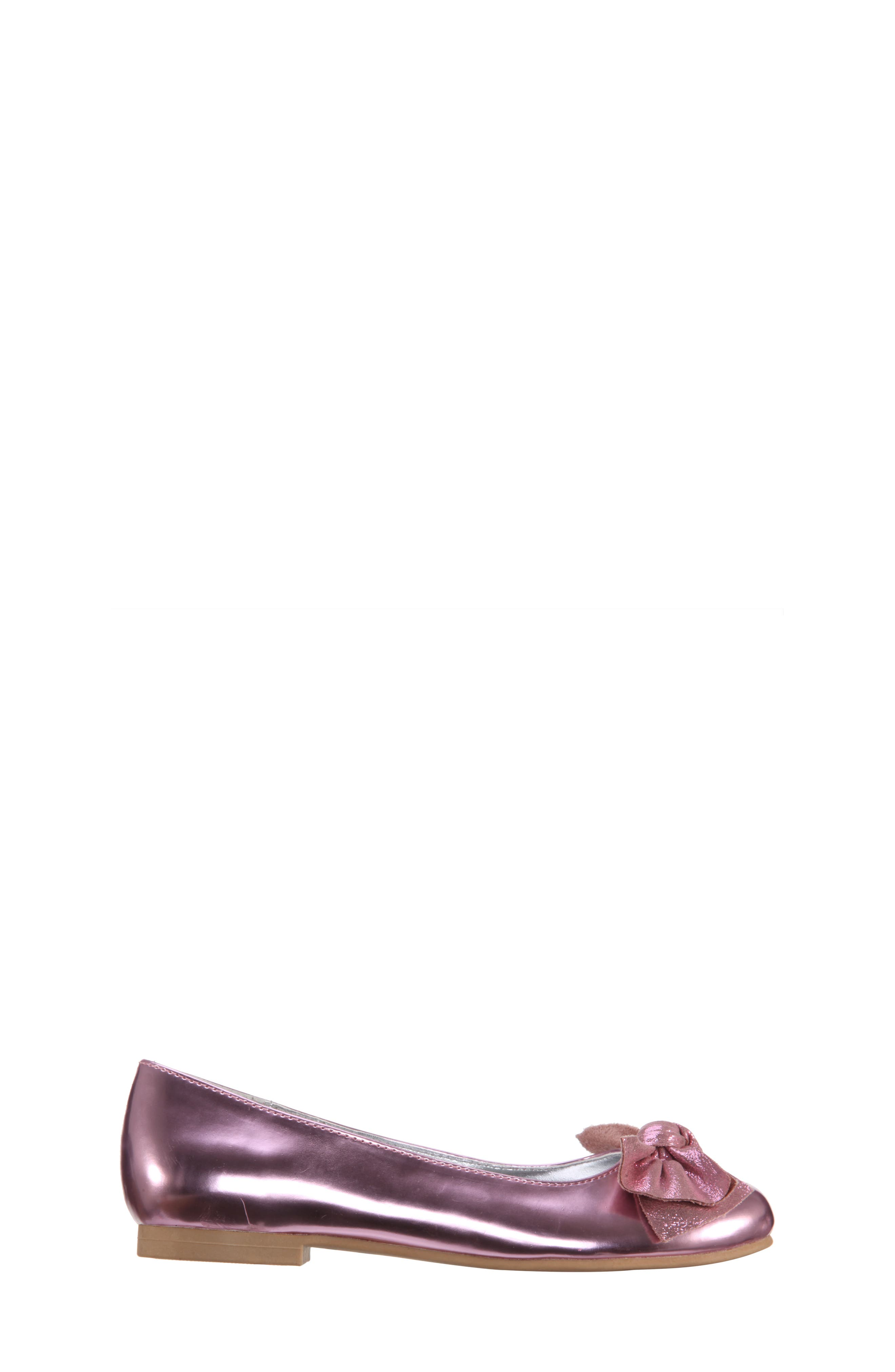 Katelyn Glitter Bow Metallic Ballet Flat,                             Alternate thumbnail 3, color,                             Pink Mirror Metallic