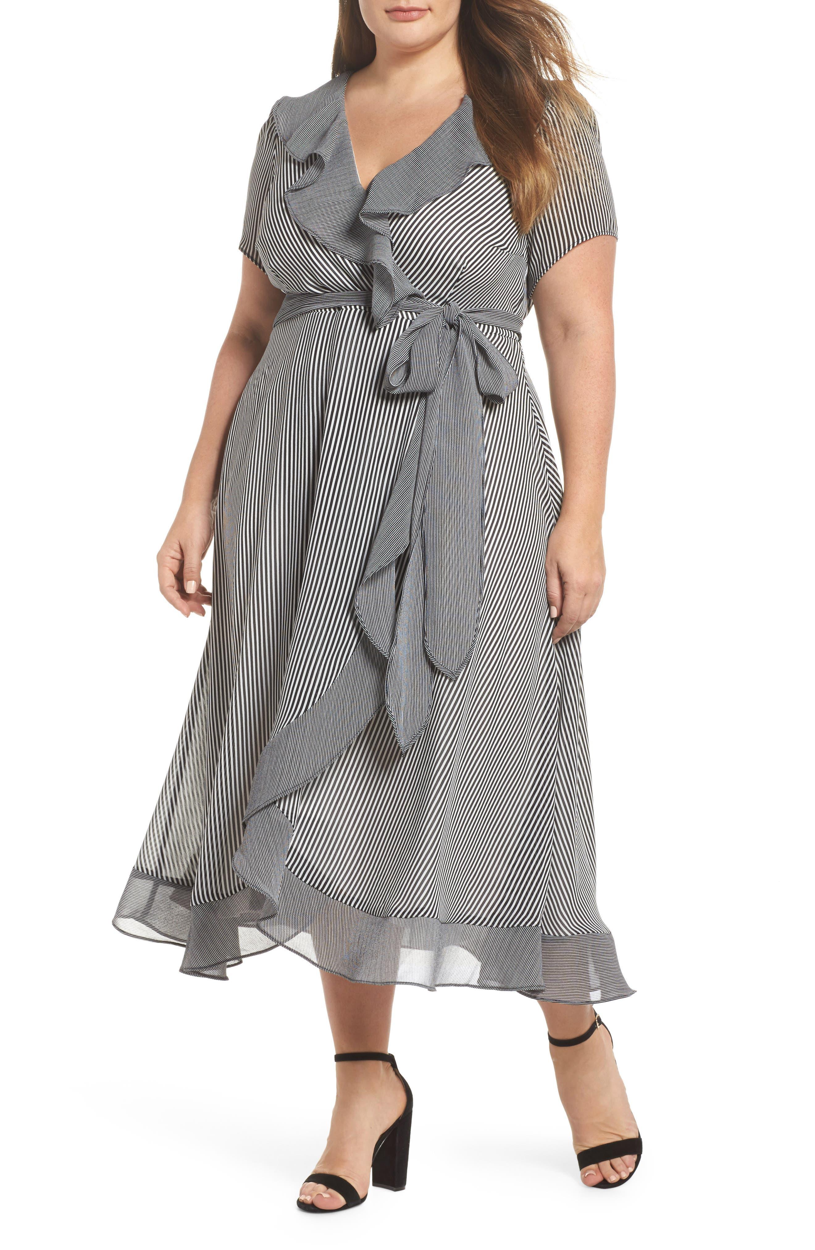Ruffle Stripe Faux Wrap Midi Dress,                         Main,                         color, Ivory/ Black