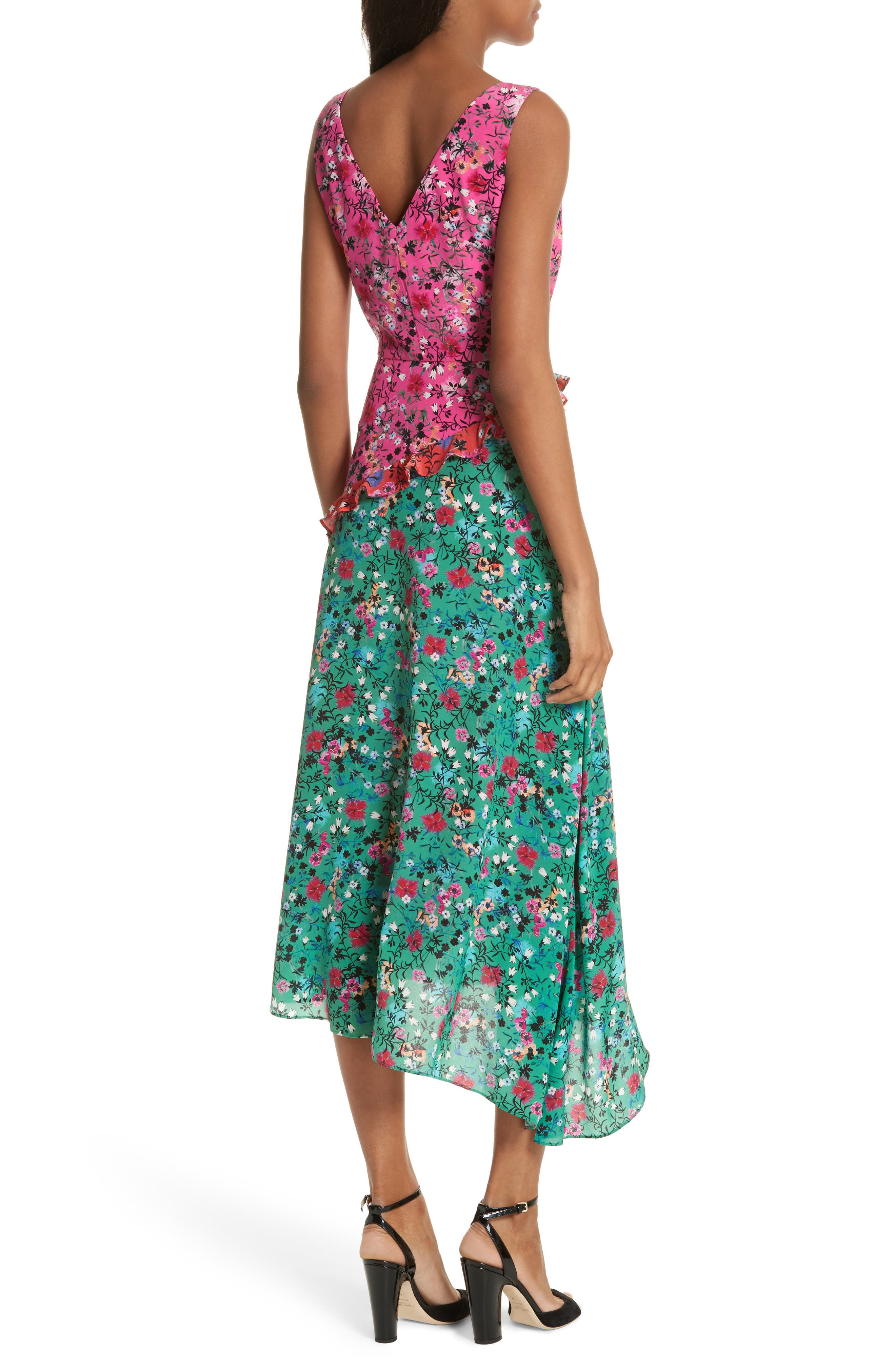 Aggie Floral Print Silk Dress,                             Alternate thumbnail 2, color,                             Pink Meadow