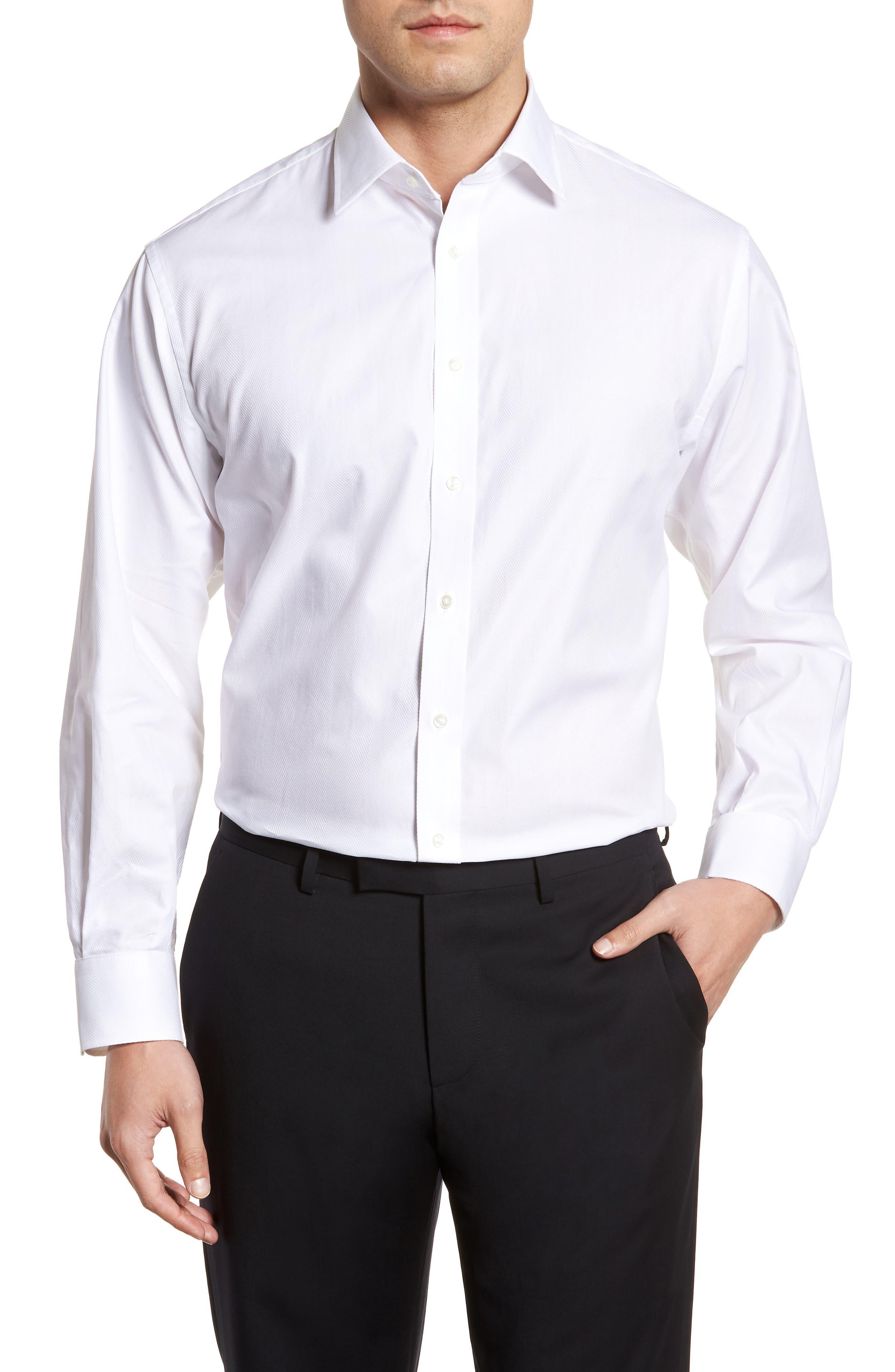 Classic Fit Herringbone Dress Shirt,                         Main,                         color, White