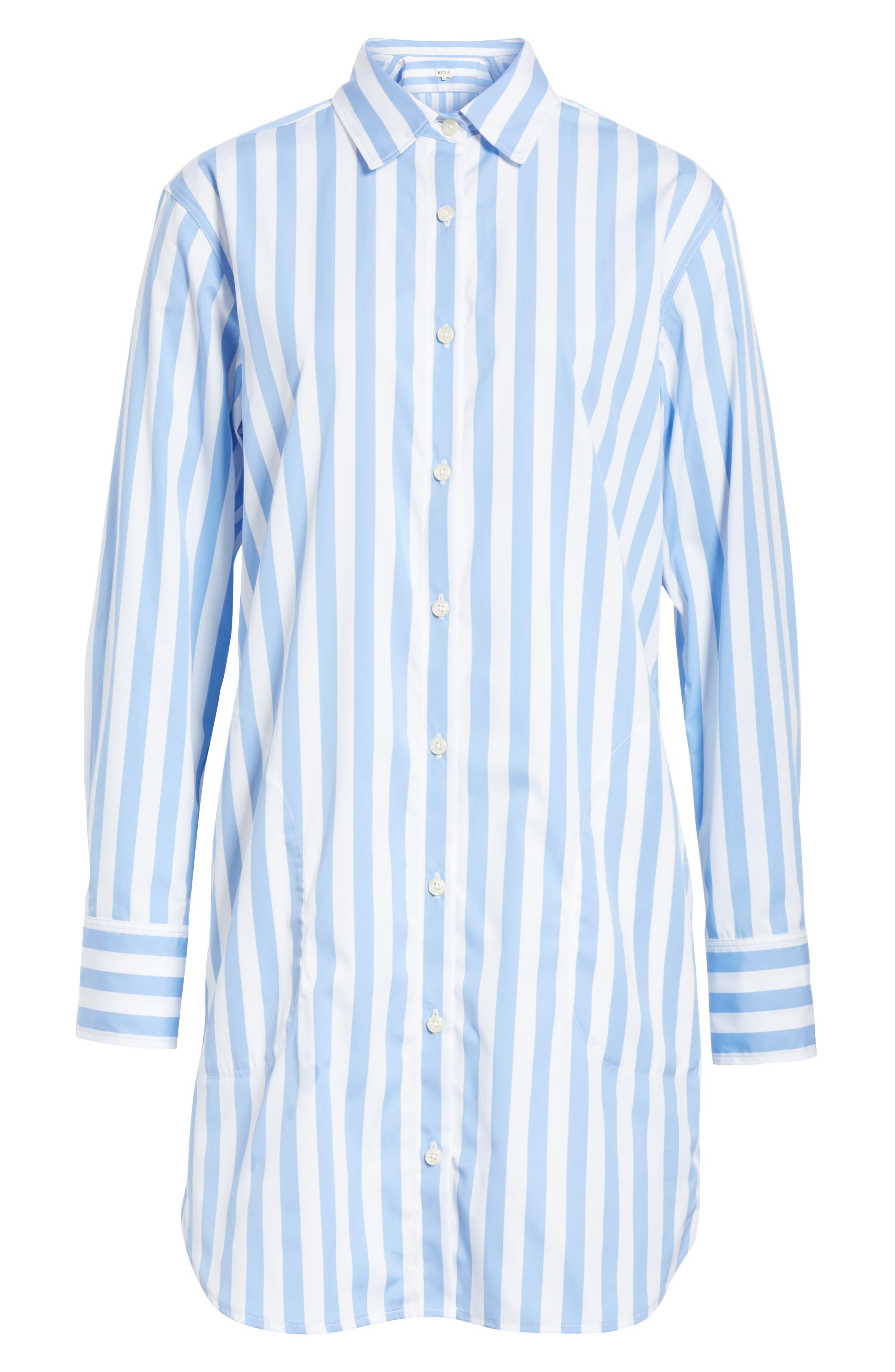 The Shirt Dress,                             Alternate thumbnail 6, color,                             White/ Sky Bold