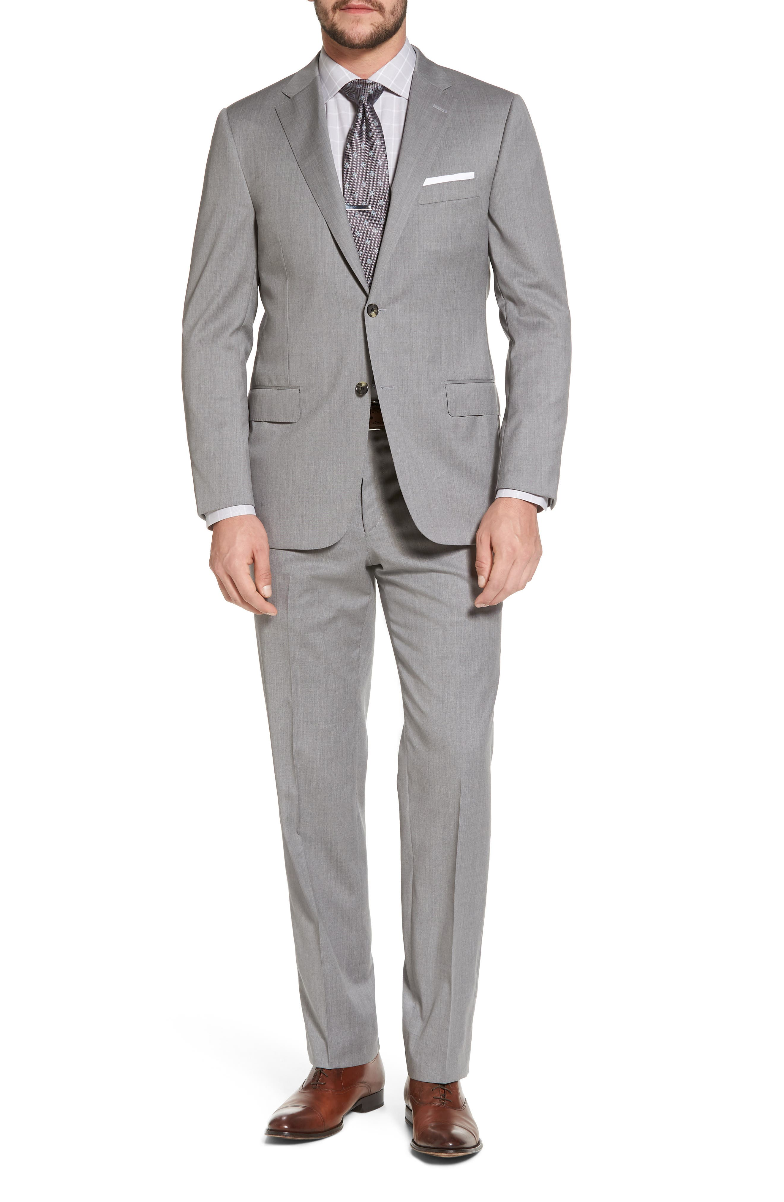 Classic B Fit Solid Wool Suit,                             Main thumbnail 1, color,                             Grey