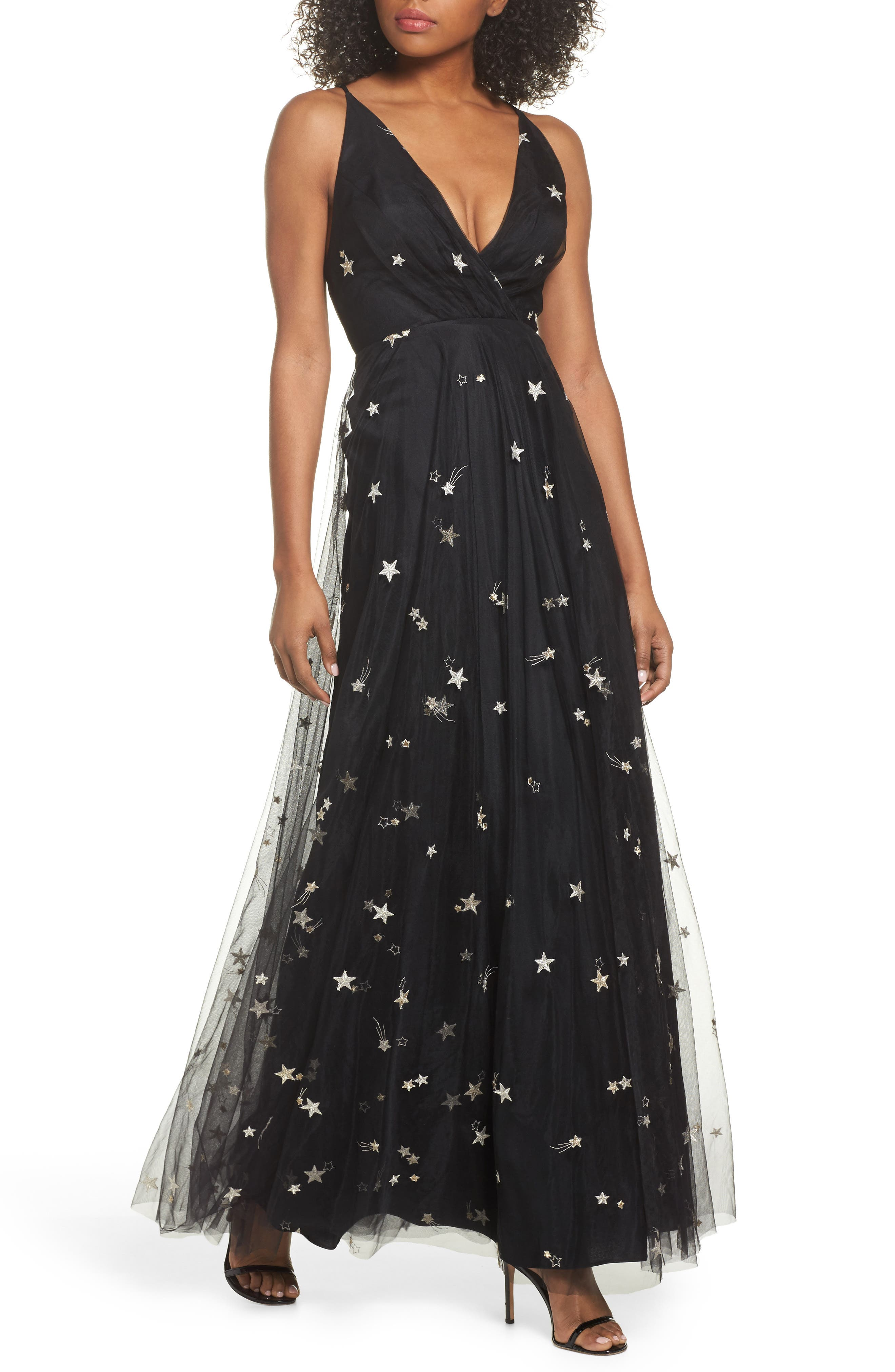 Chelsea Starry Night Embroidered Halter Maxi Dress,                         Main,                         color, Black/ Metallic