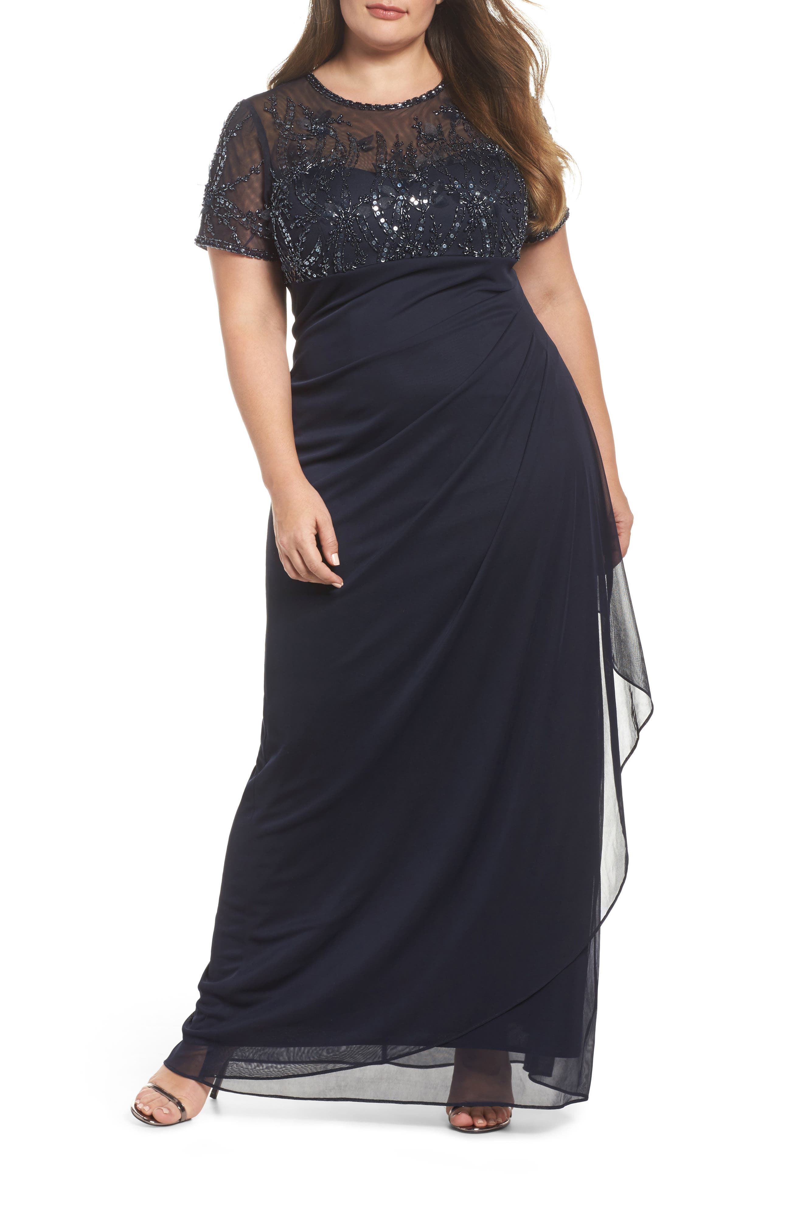 Ruched Beaded Gown,                         Main,                         color, Navy