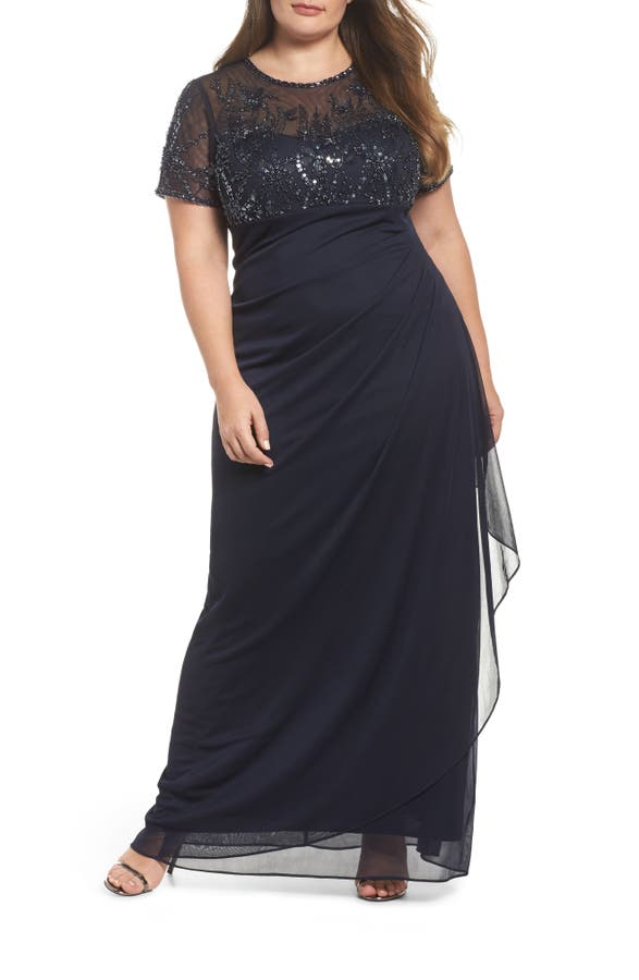 Xscape Ruched Beaded Gown Plus Size Nordstrom