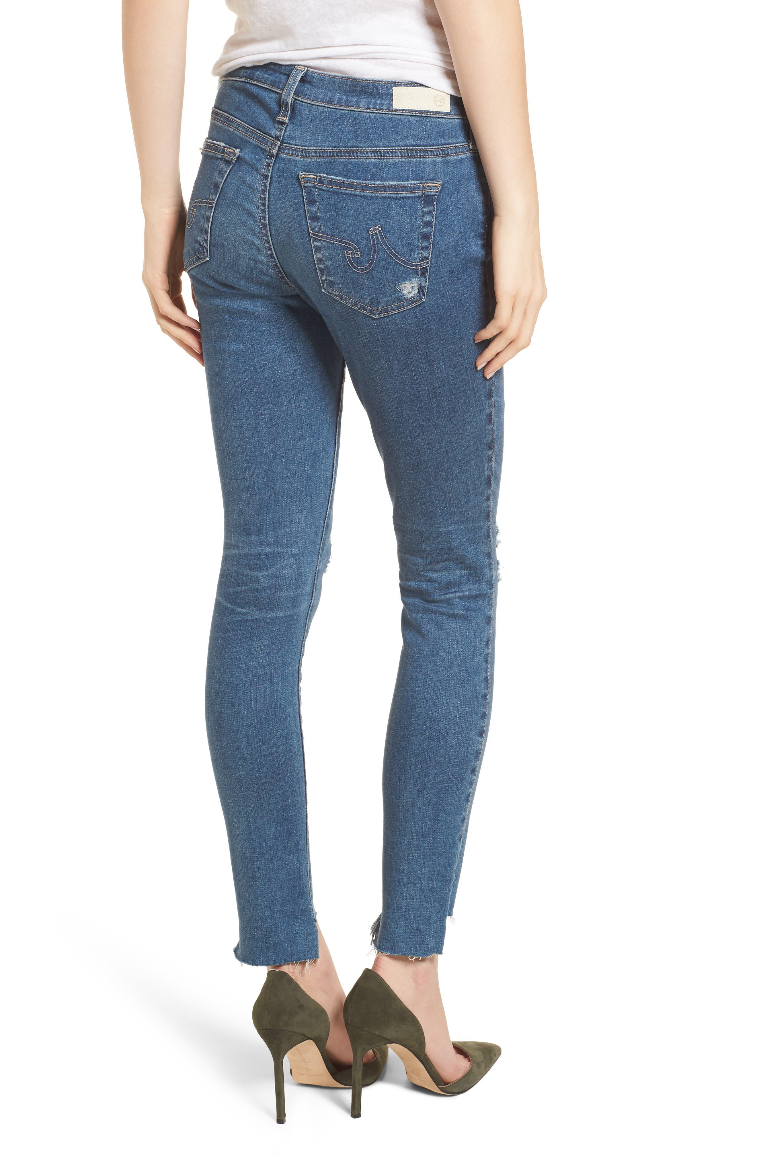 The Legging Raw Step Hem Ankle Skinny Jeans,                             Alternate thumbnail 2, color,                             10 Years-Sea Mist Destructed