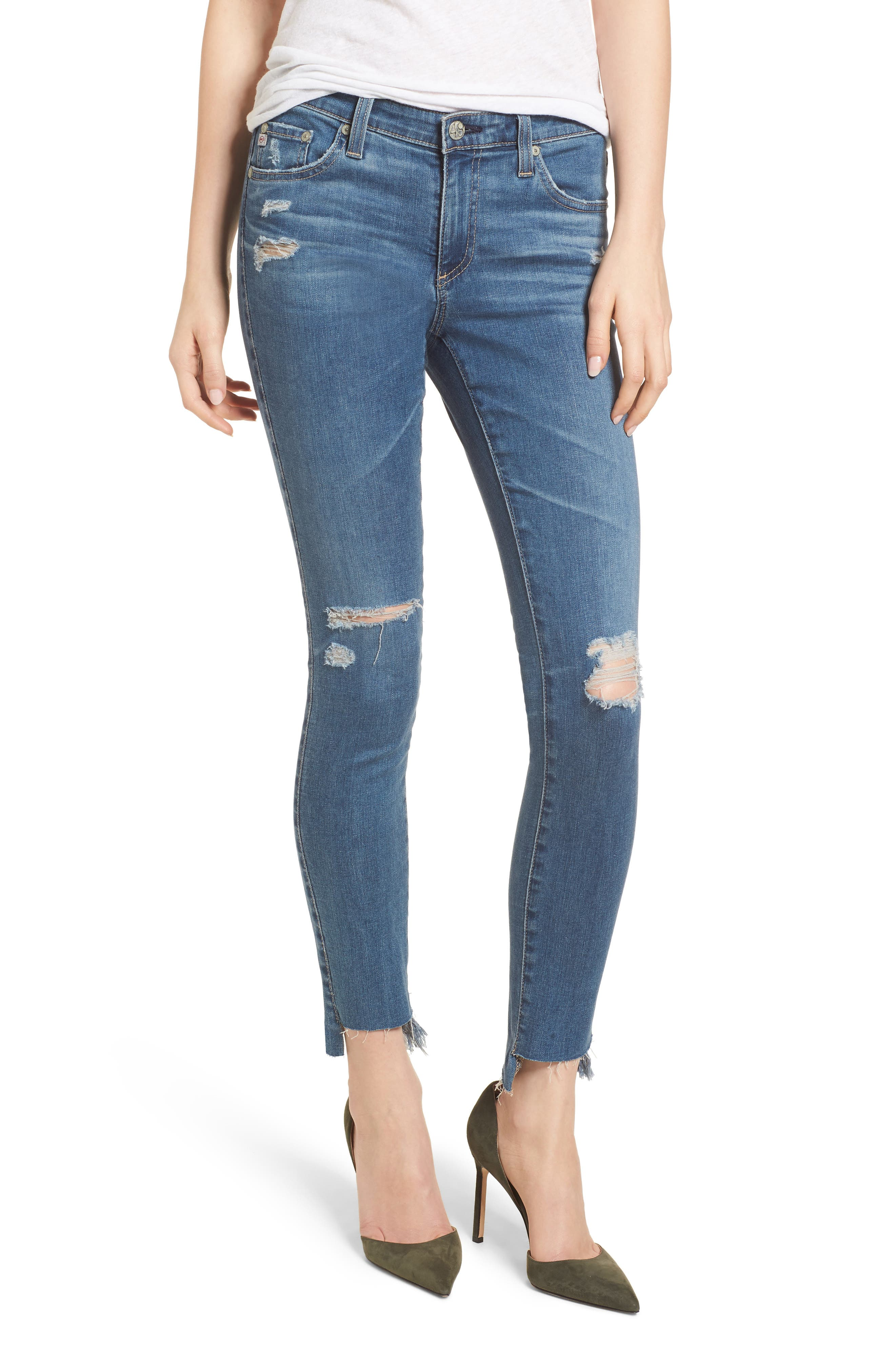 The Legging Raw Step Hem Ankle Skinny Jeans,                             Main thumbnail 1, color,                             10 Years-Sea Mist Destructed