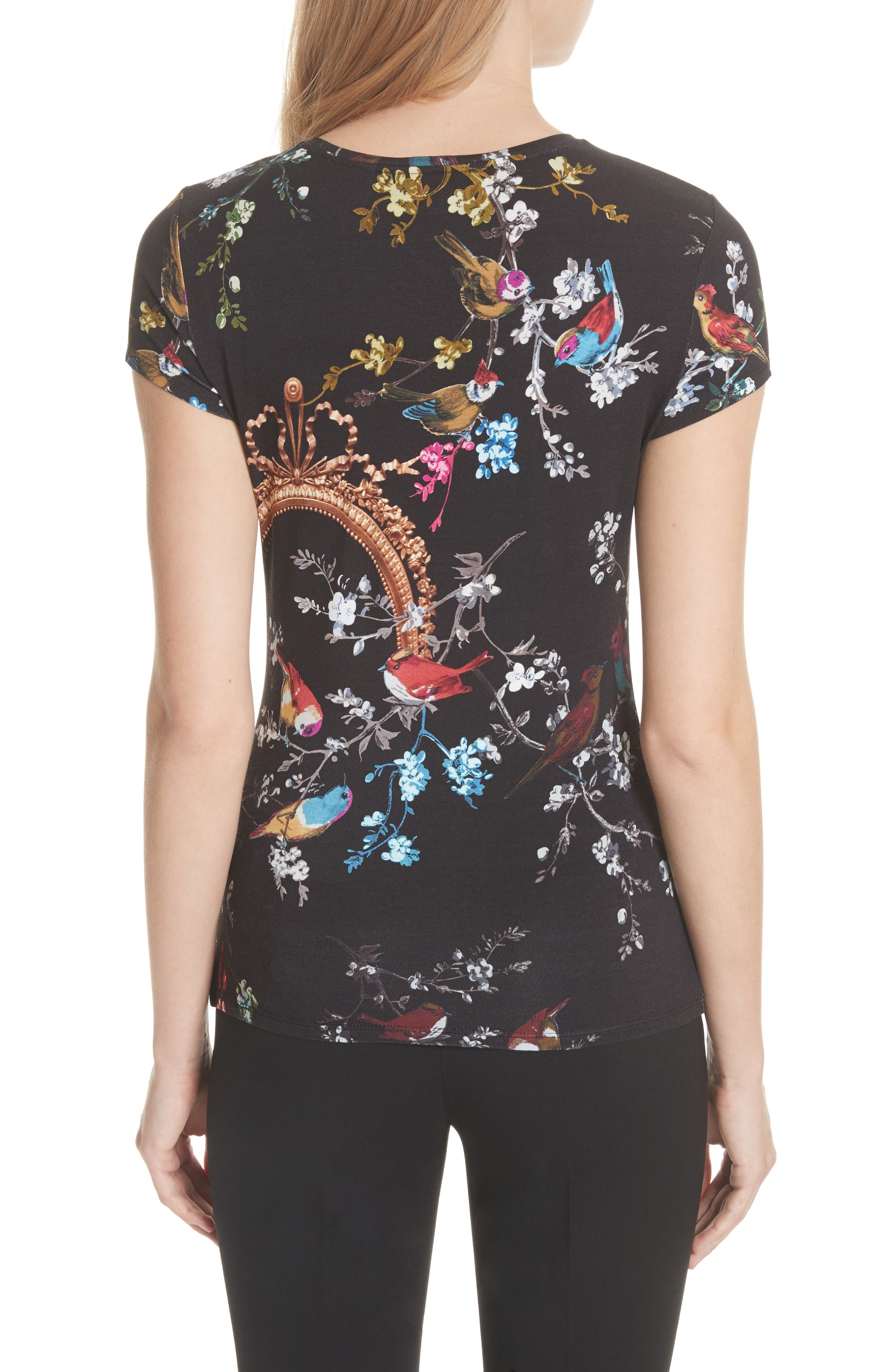 Opulent Fauna Fitted Tee,                             Alternate thumbnail 2, color,                             Black