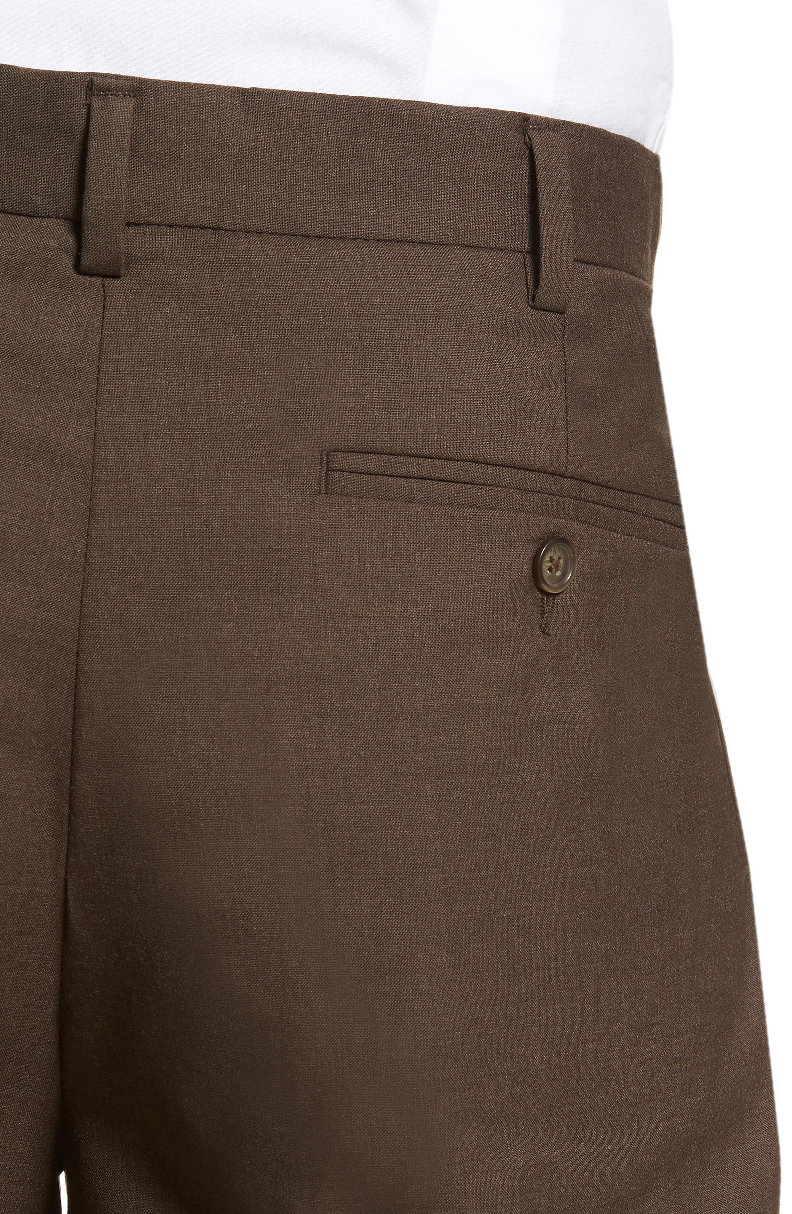 Self Sizer Waist Pleated Wool Gabardine Trousers,                             Alternate thumbnail 4, color,                             Brown