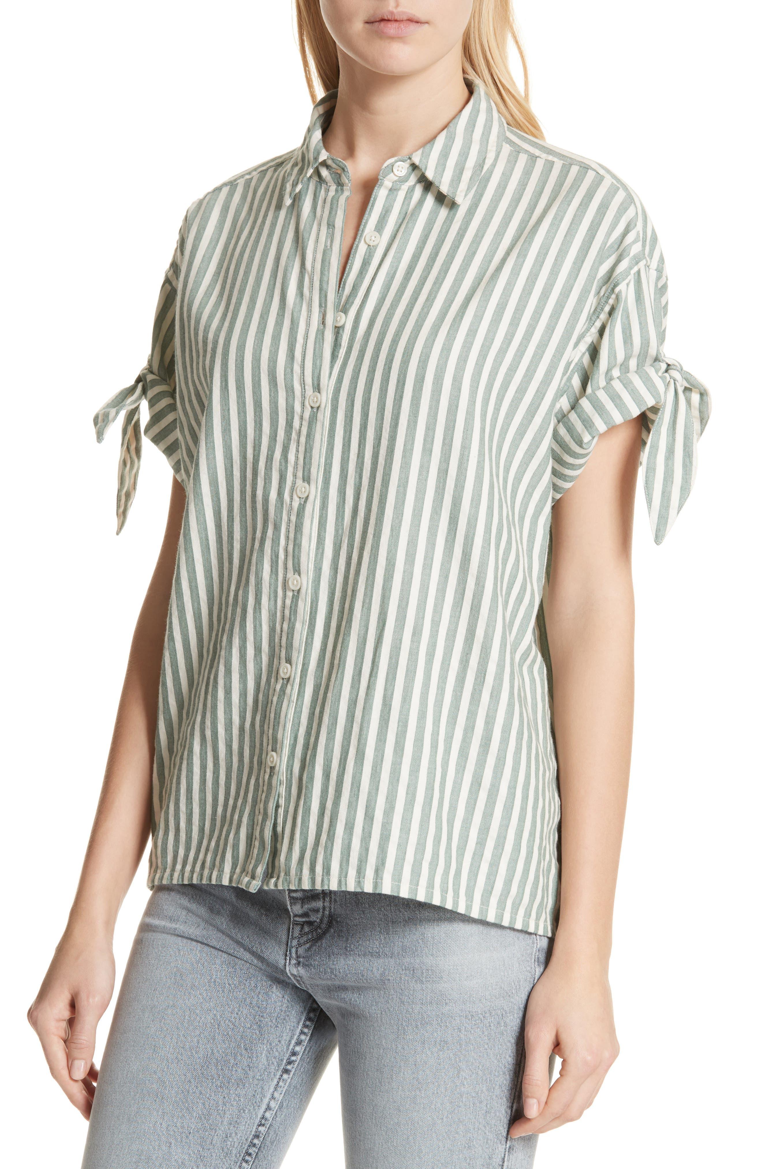 The Tie Sleeve Stripe Shirt,                             Alternate thumbnail 4, color,                             Green Stripe