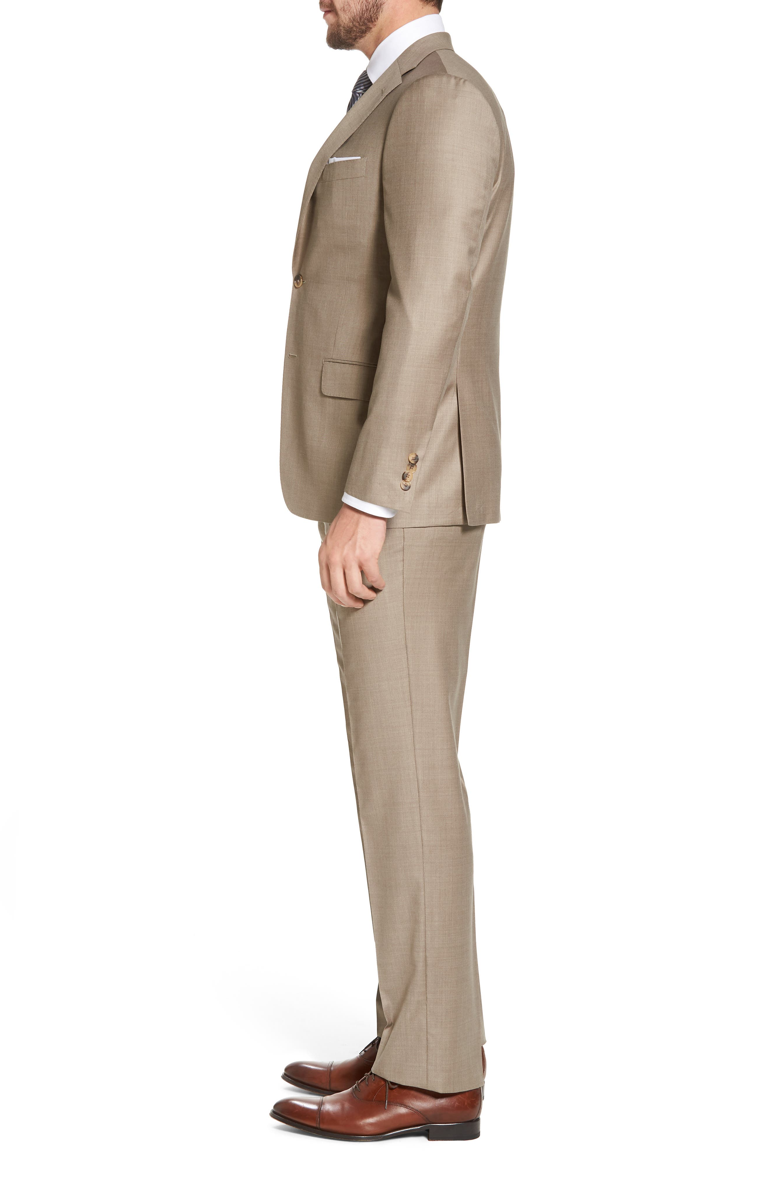 Classic B Fit Solid Wool Suit,                             Alternate thumbnail 3, color,                             Medium Beige