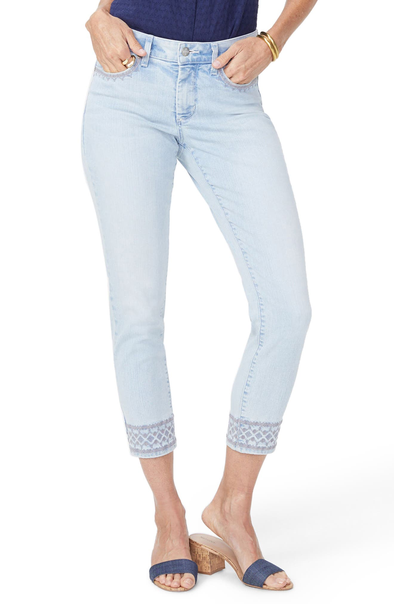 Ami Embroidered Border Ankle Skinny Jeans,                             Main thumbnail 1, color,                             Palm Desert