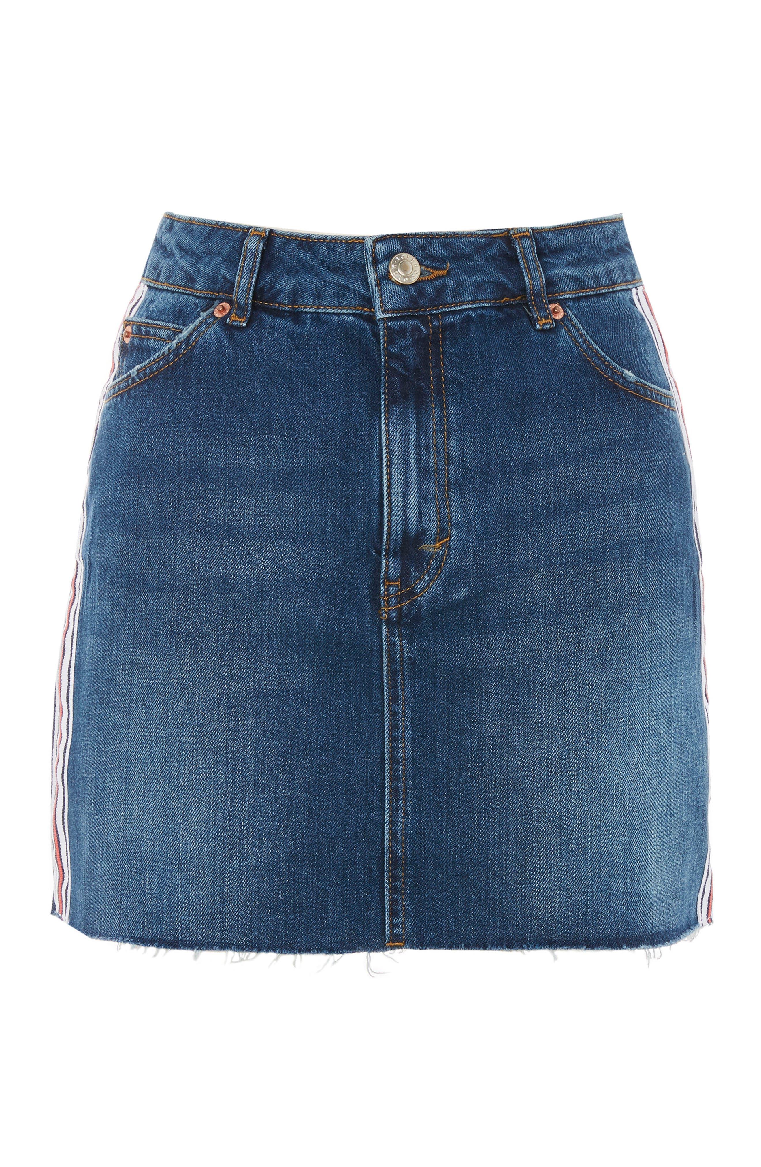 Varsity Stripe Denim Miniskirt,                             Alternate thumbnail 4, color,                             Mid Denim