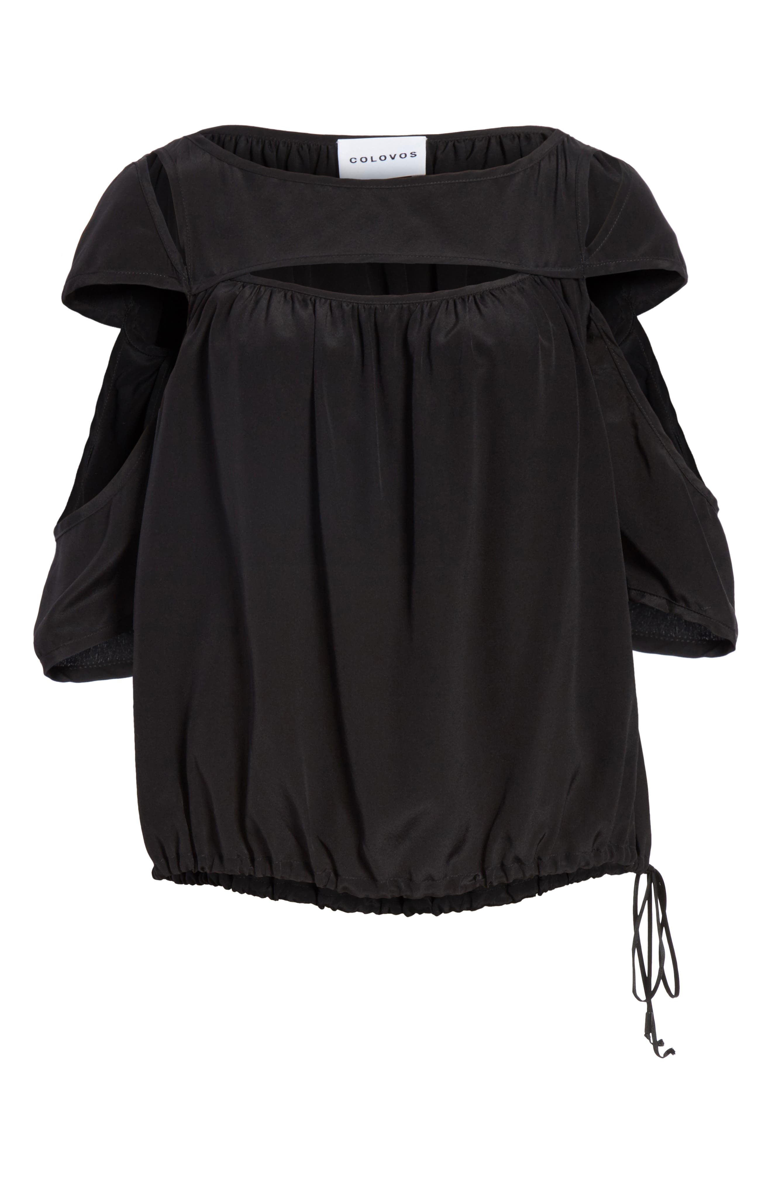 Cutout Silk Top,                             Alternate thumbnail 7, color,                             Black
