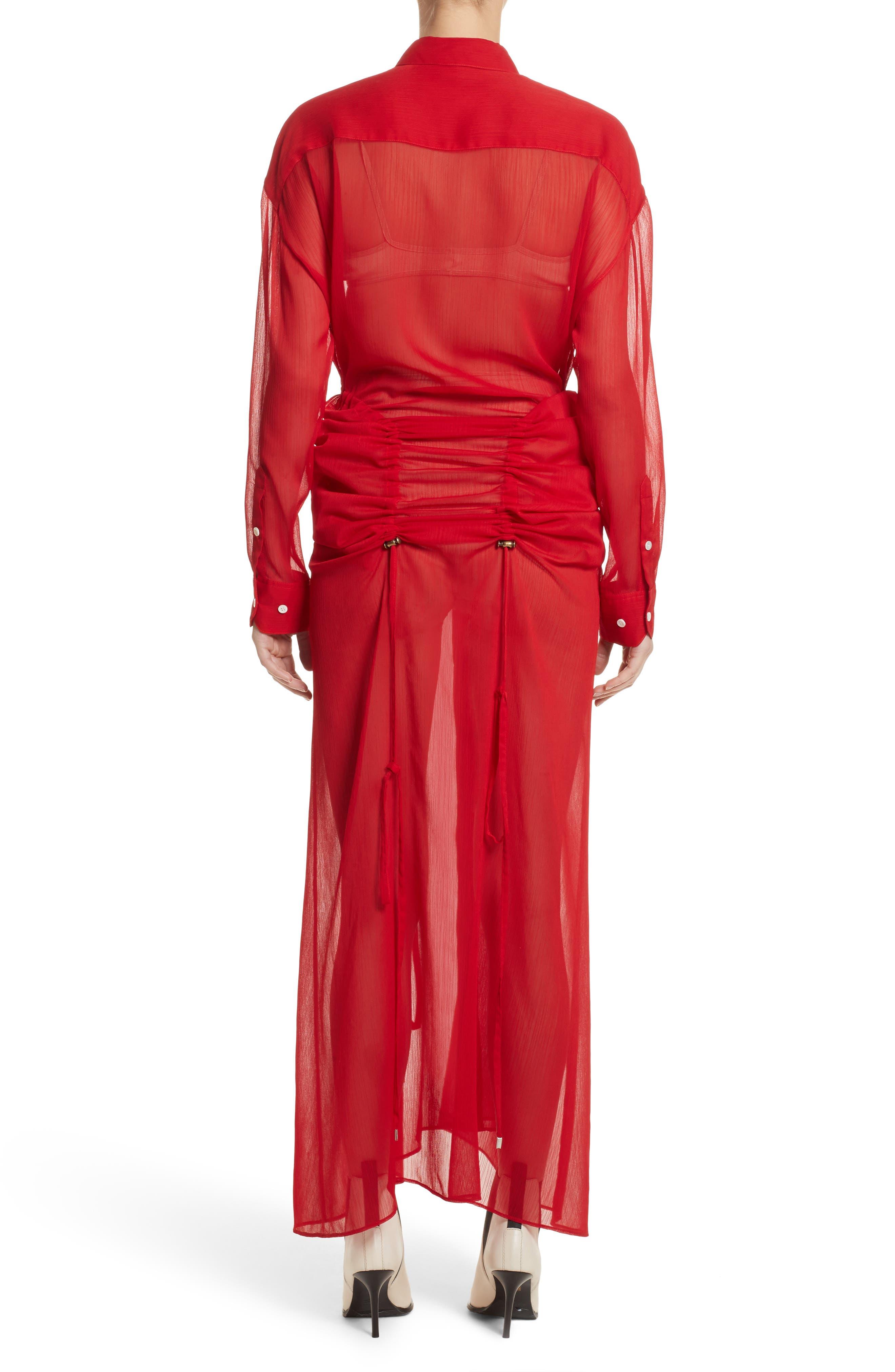 Sheer Drawstring Shirtdress,                             Alternate thumbnail 3, color,                             Red