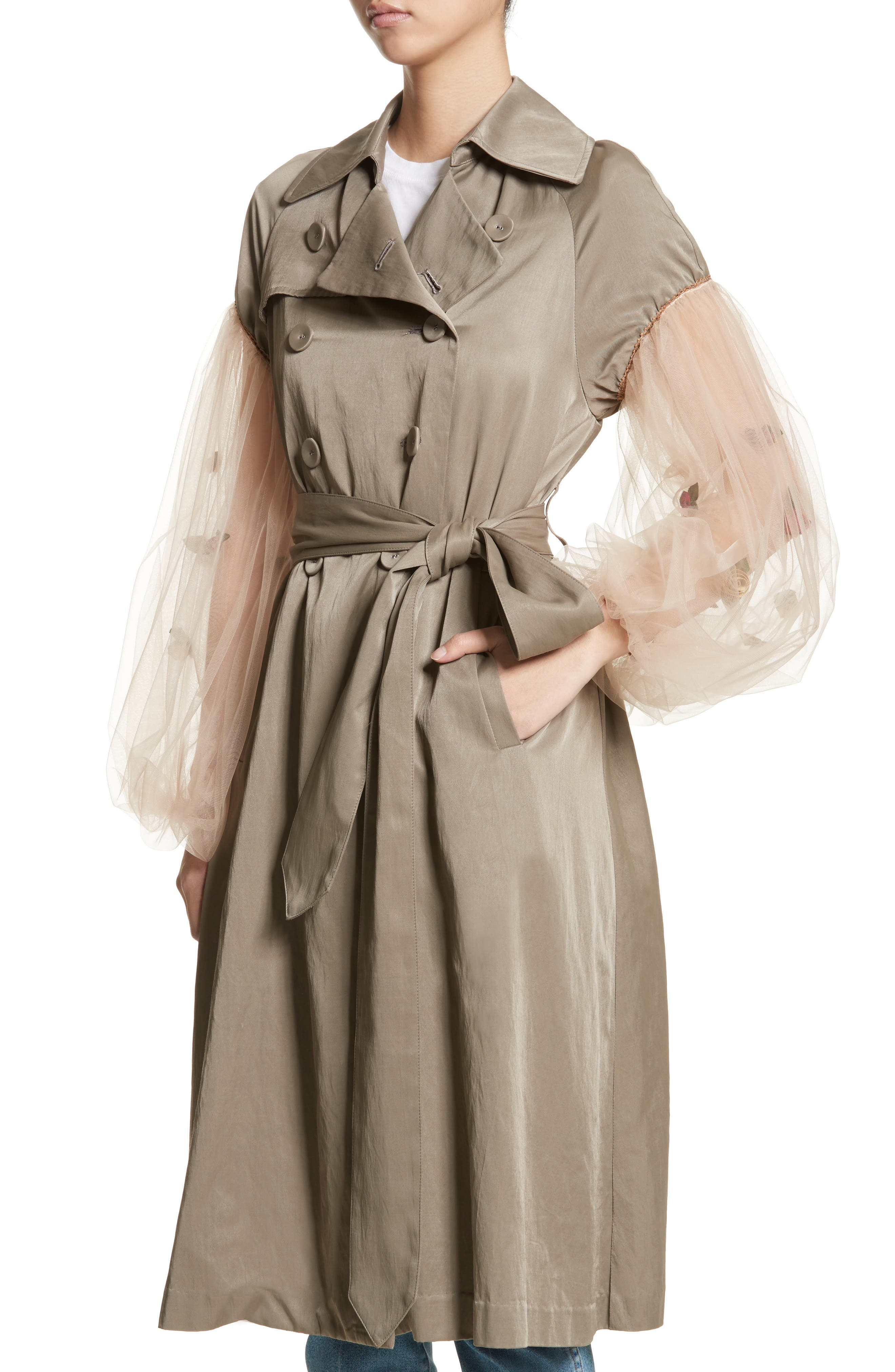 Rose Embroidered Tulle Sleeve Trench Coat,                             Alternate thumbnail 4, color,                             Beige