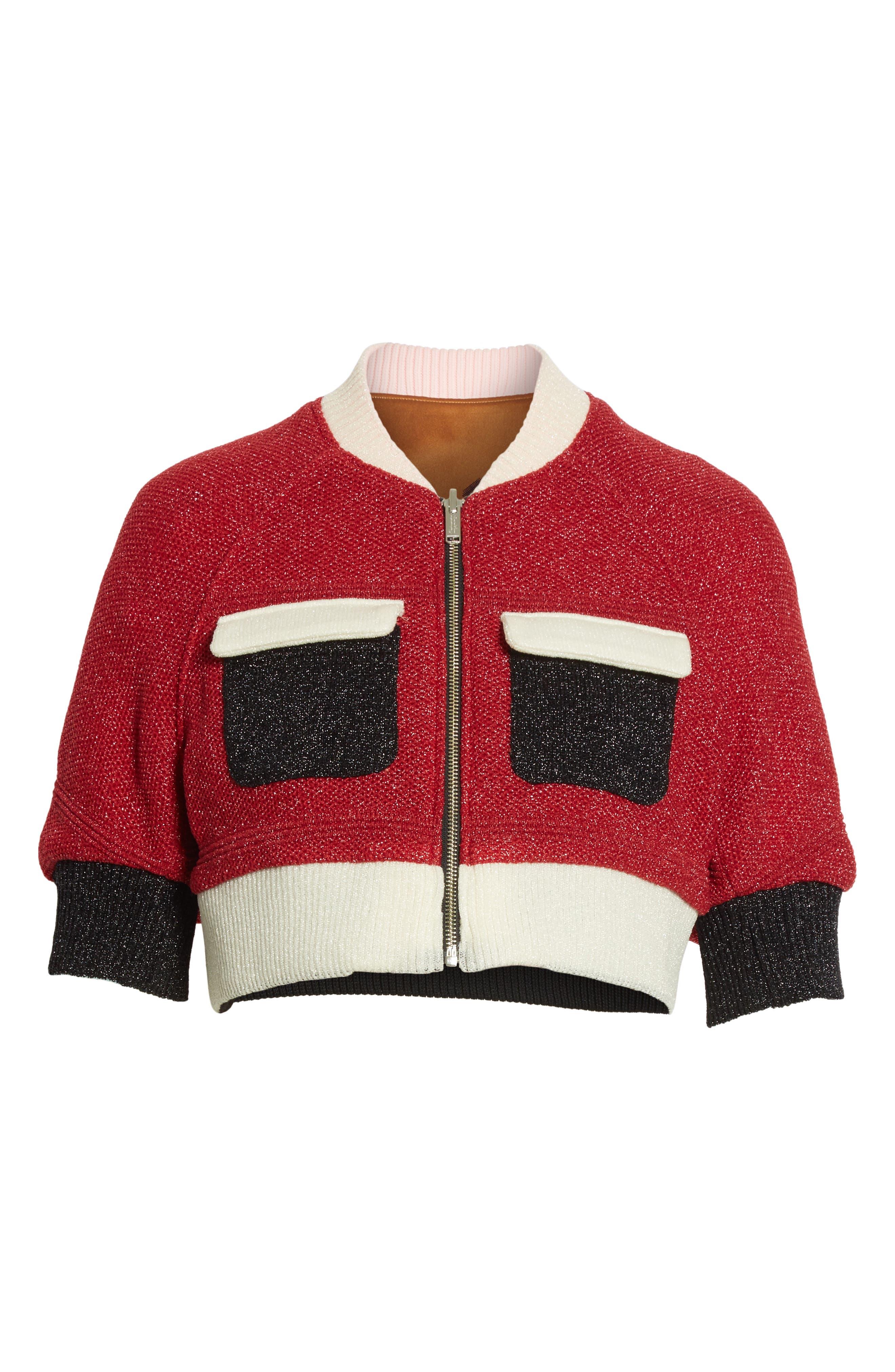 Reversible Crop Jacket,                             Alternate thumbnail 7, color,                             Brown/ Red