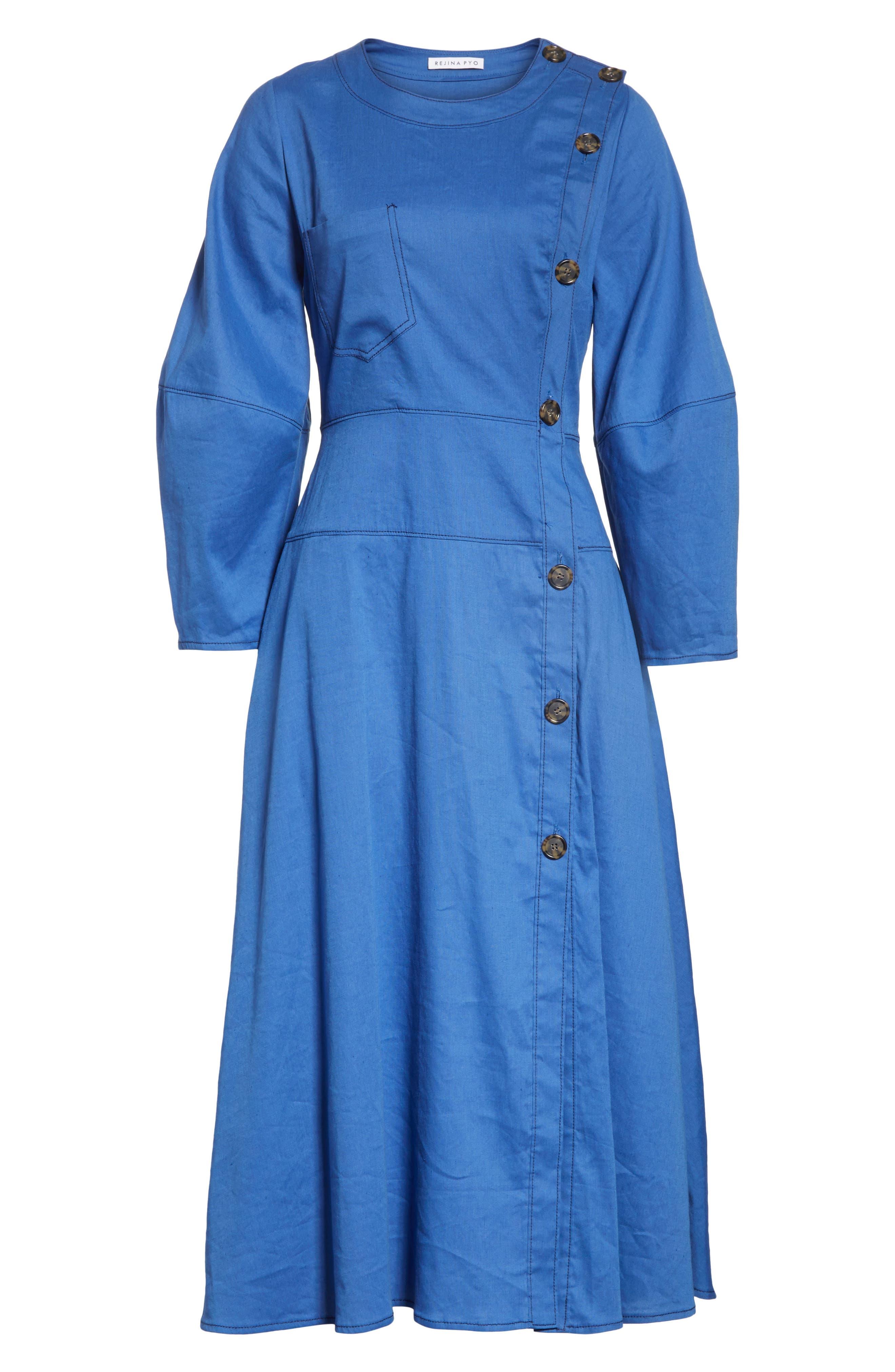 Michaela Linen Dress,                             Alternate thumbnail 6, color,                             Linen Blue