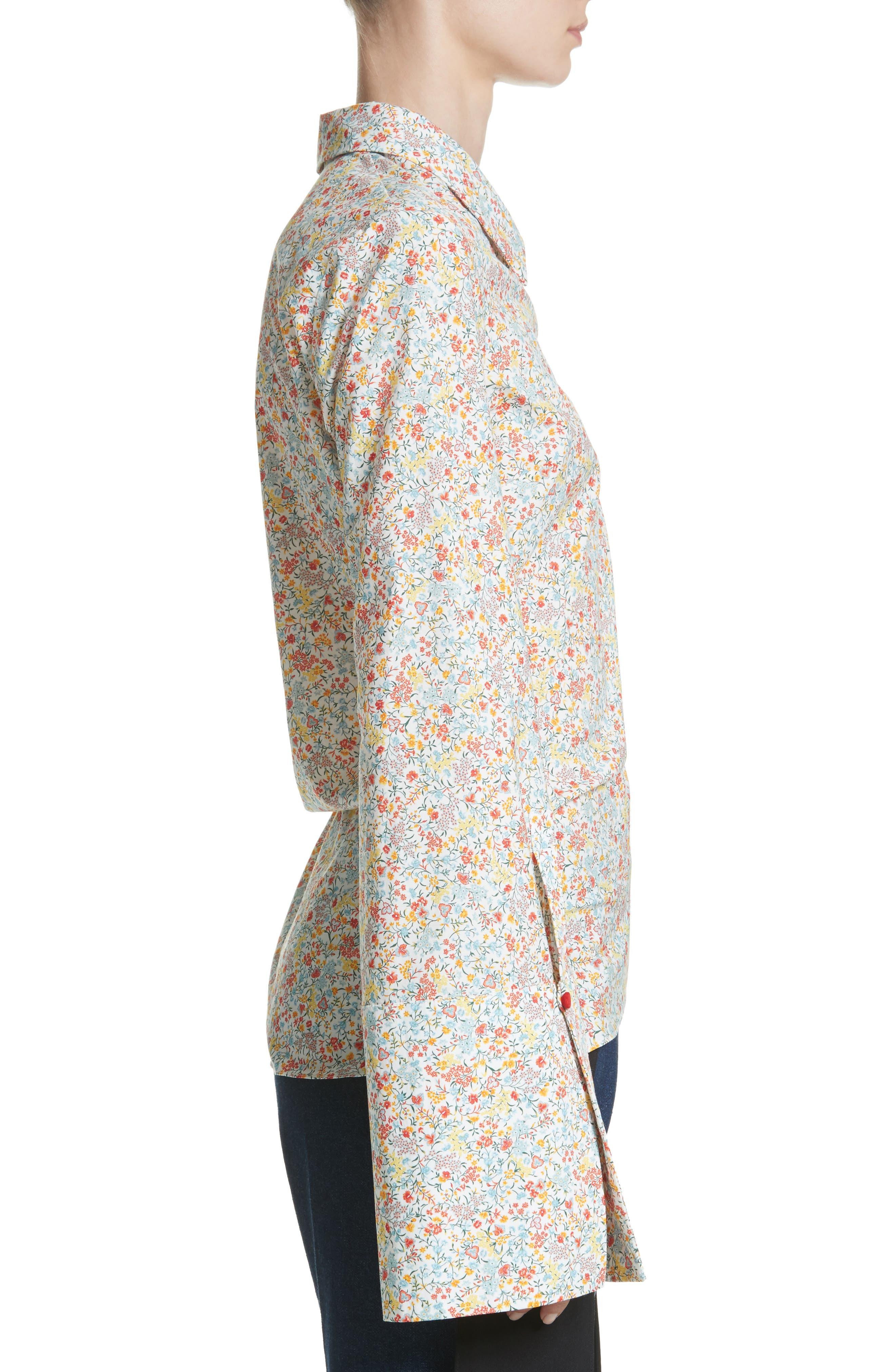 Wyatt Asymmetrical Cotton Blouse,                             Alternate thumbnail 3, color,                             Multicolor