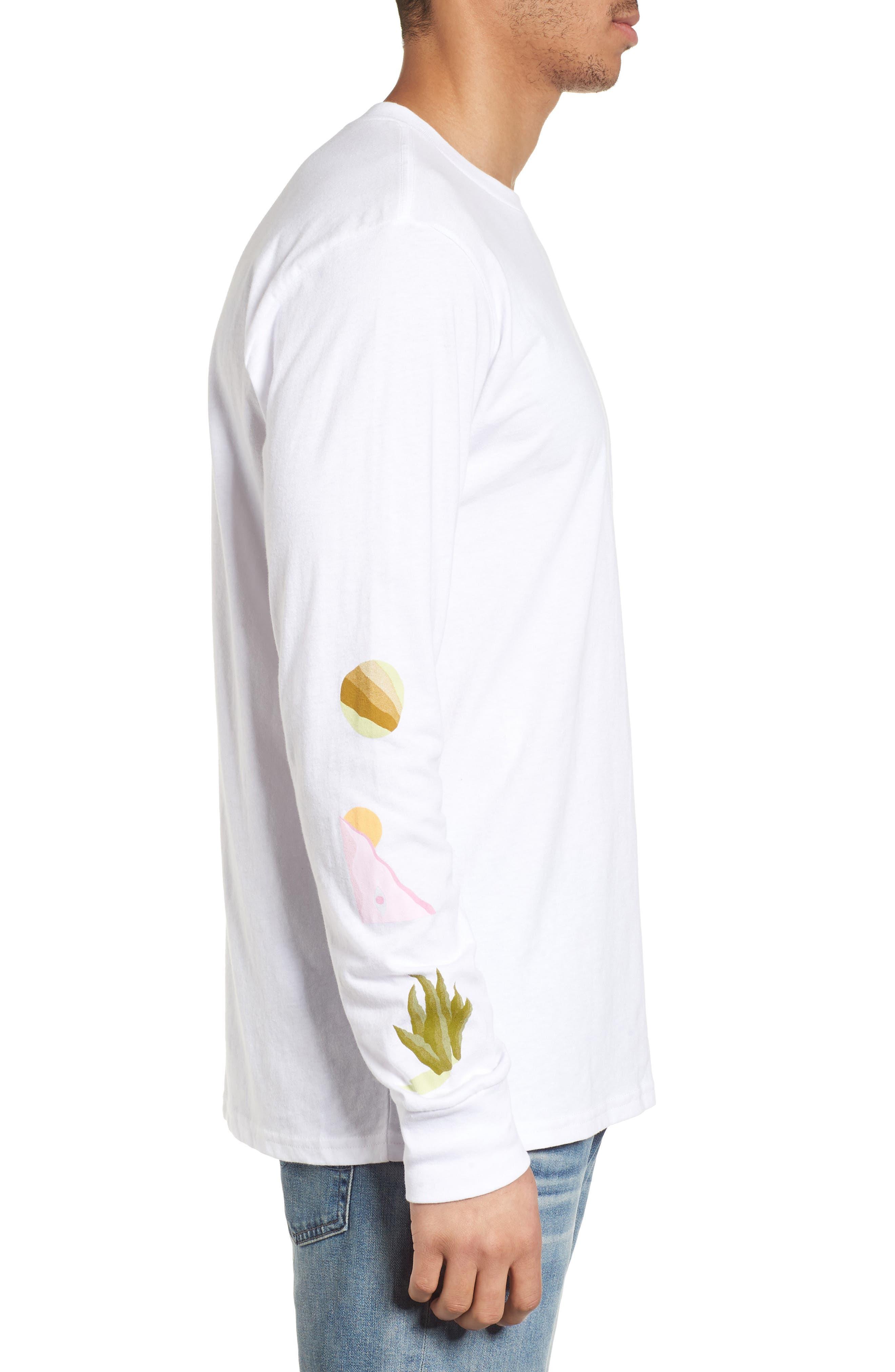Wandering Eye Embroidered Long Sleeve T-Shirt,                             Alternate thumbnail 3, color,                             White