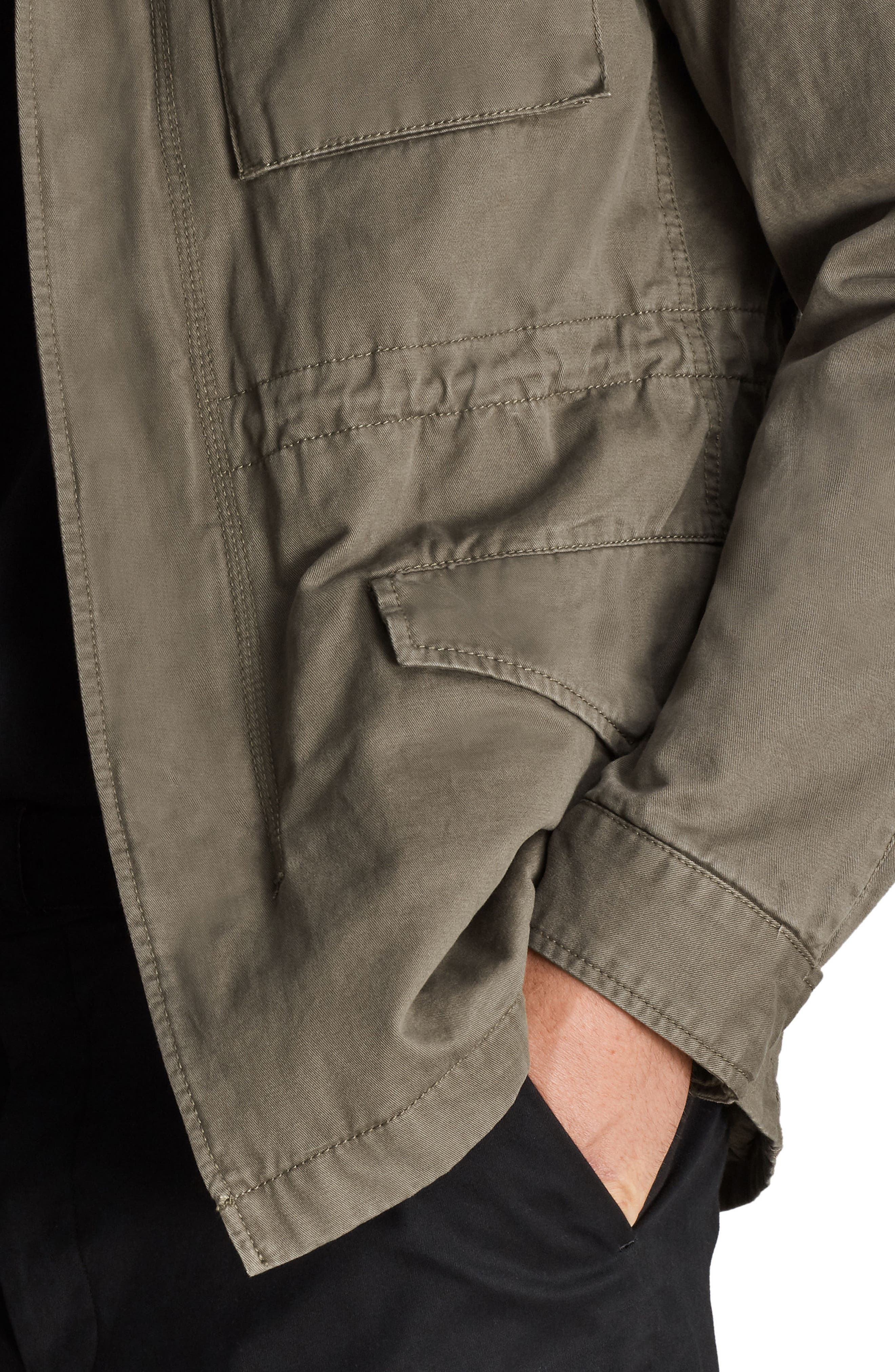 Cote Regular Fit Cotton Jacket,                             Alternate thumbnail 4, color,                             Dusty Olive