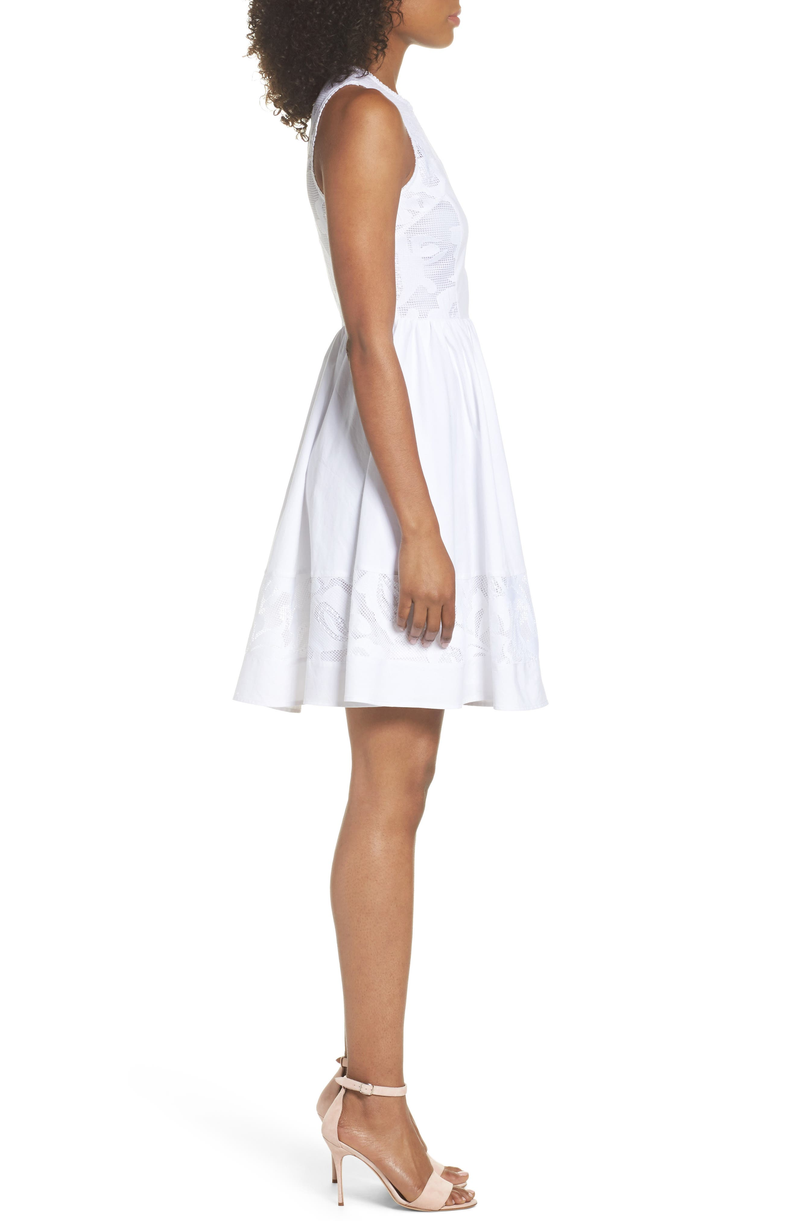 Lace Fit & Flare Dress,                             Alternate thumbnail 3, color,                             White Snow