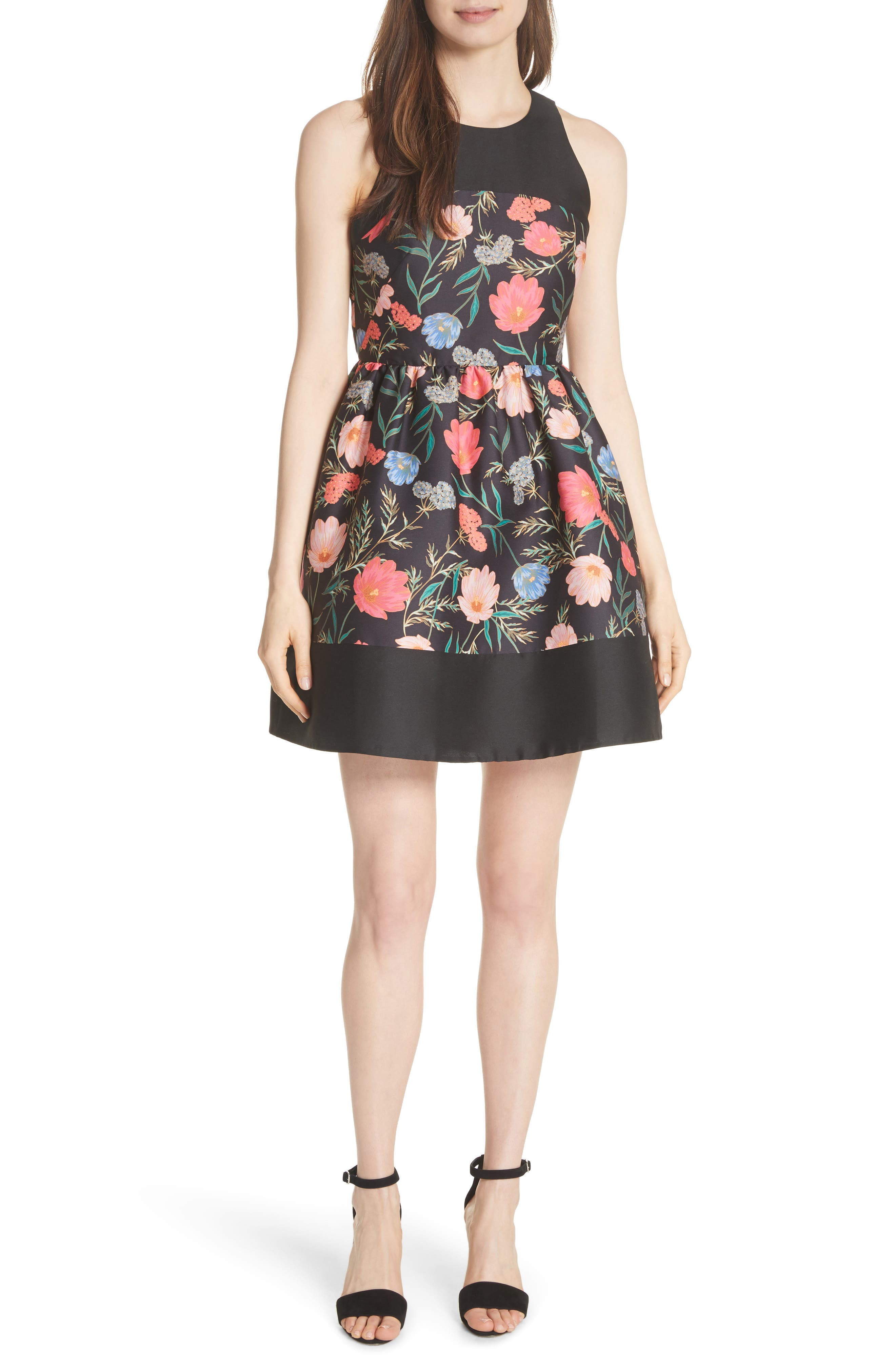 blossom mikado minidress,                             Main thumbnail 1, color,                             Black