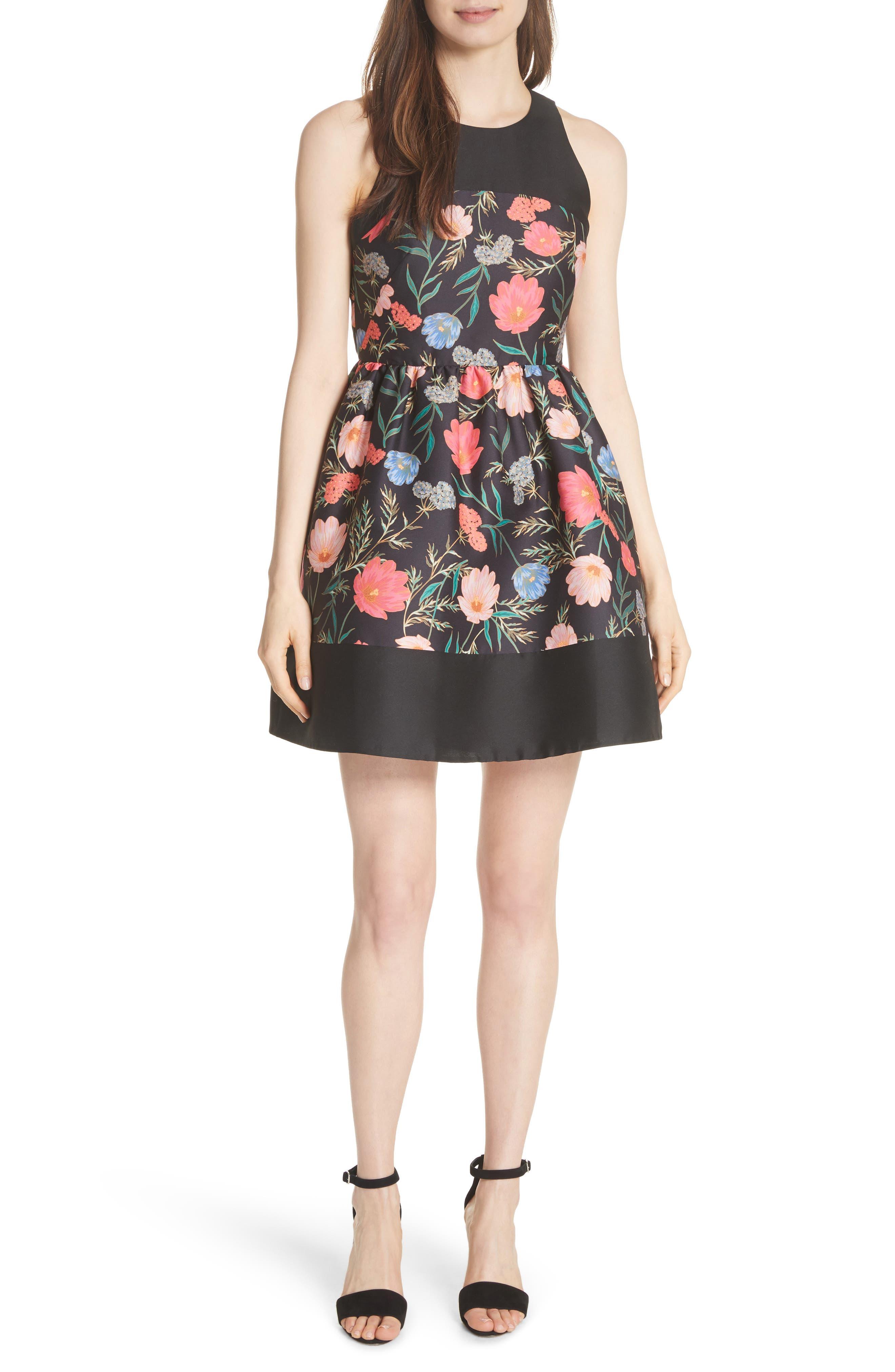 blossom mikado minidress,                         Main,                         color, Black