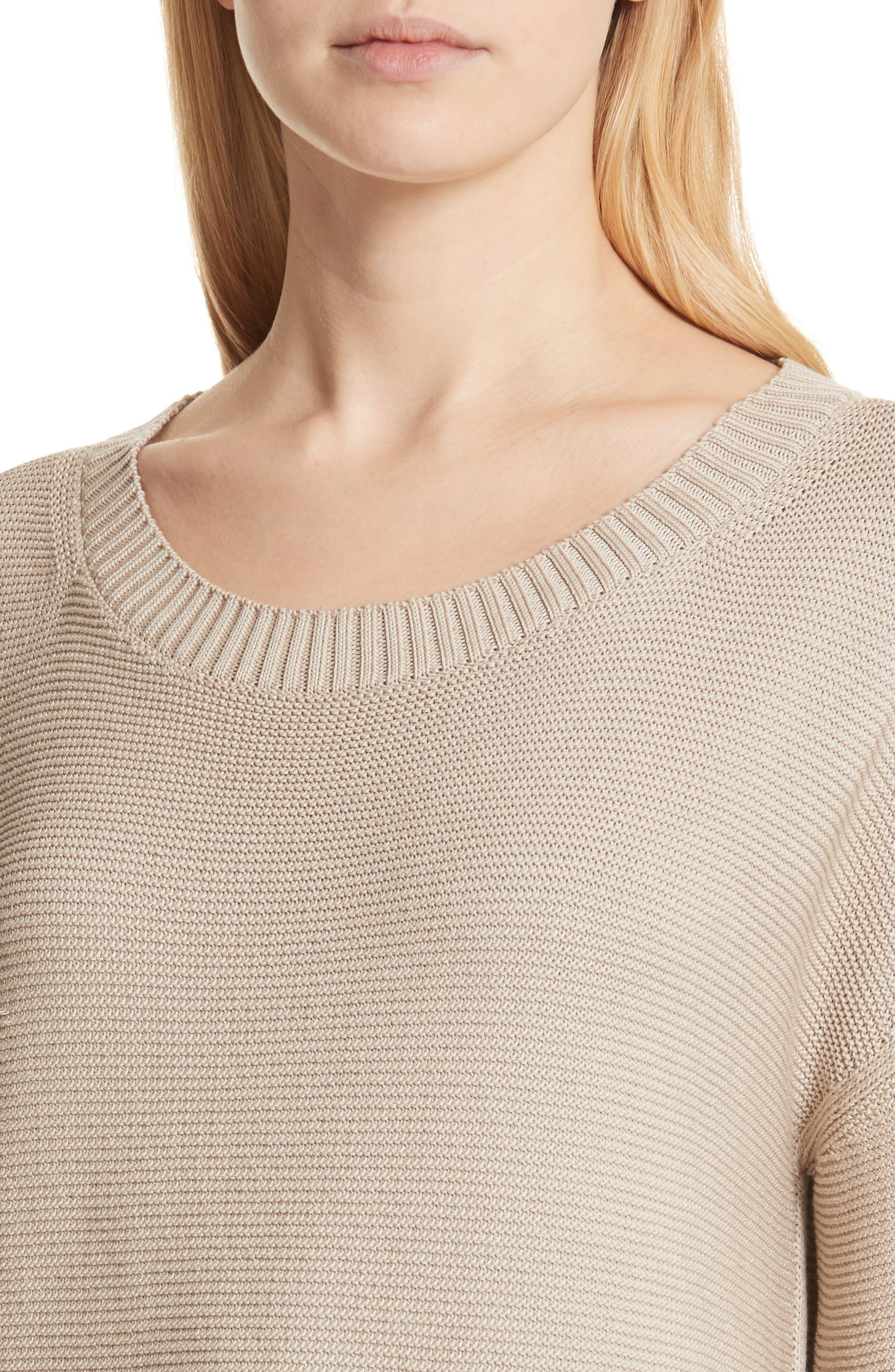 Cotton & Silk Sweater,                             Alternate thumbnail 4, color,                             Khaki