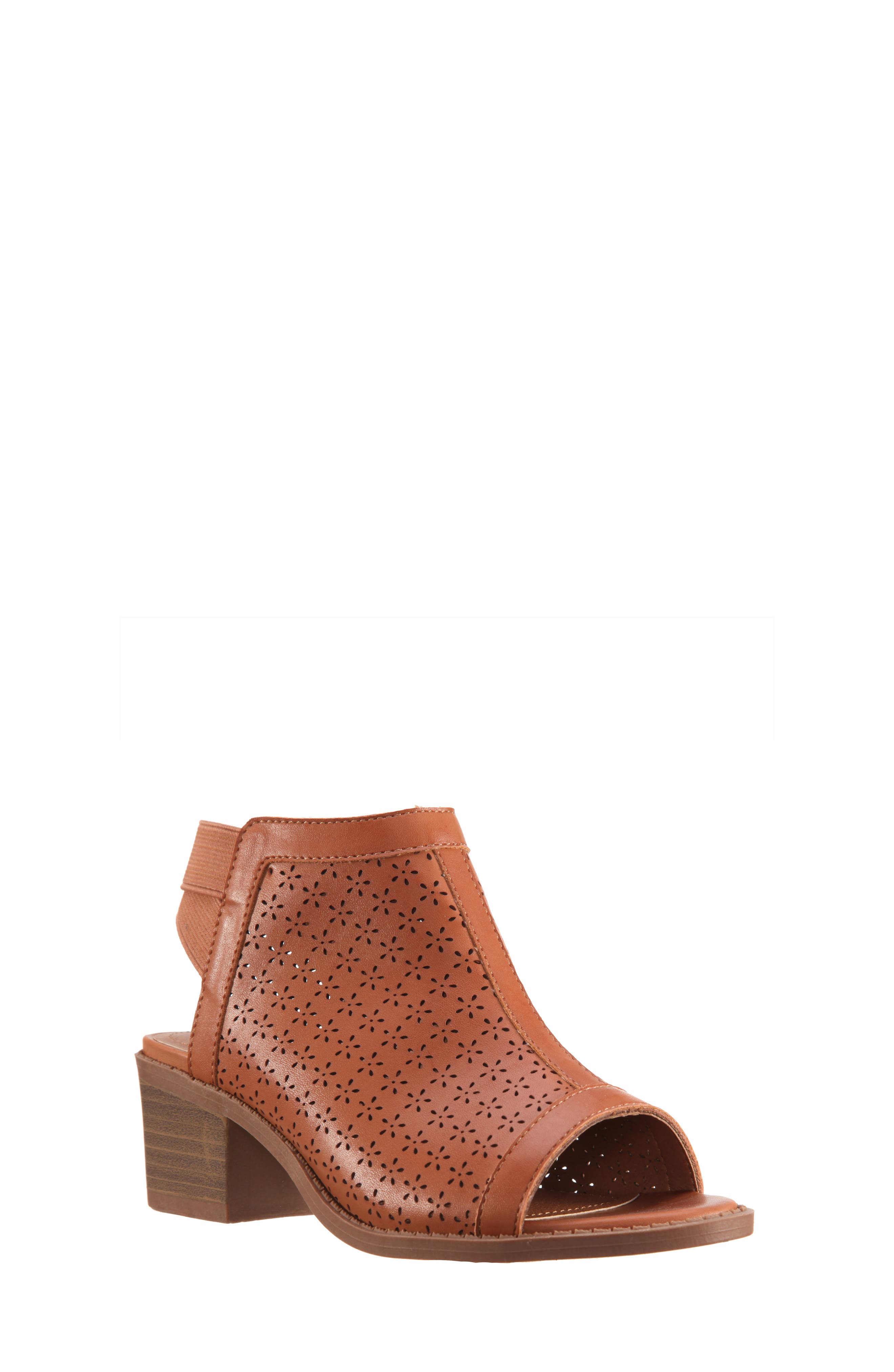 Maya Perforated Peep Toe Bootie,                             Main thumbnail 1, color,                             Tan Burnished