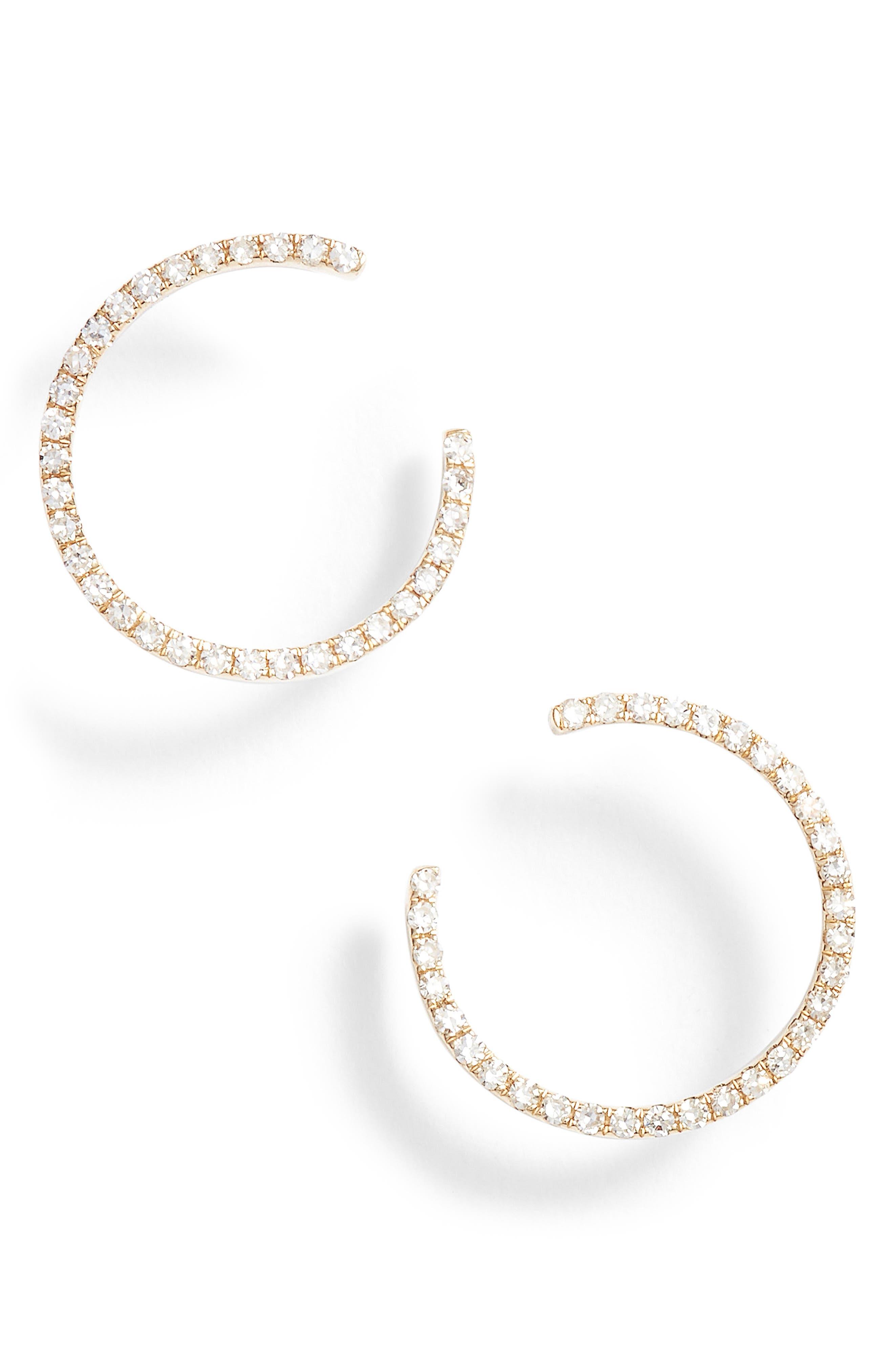 Diamond Illusion Hoop Earrings,                             Main thumbnail 1, color,                             Yellow Gold