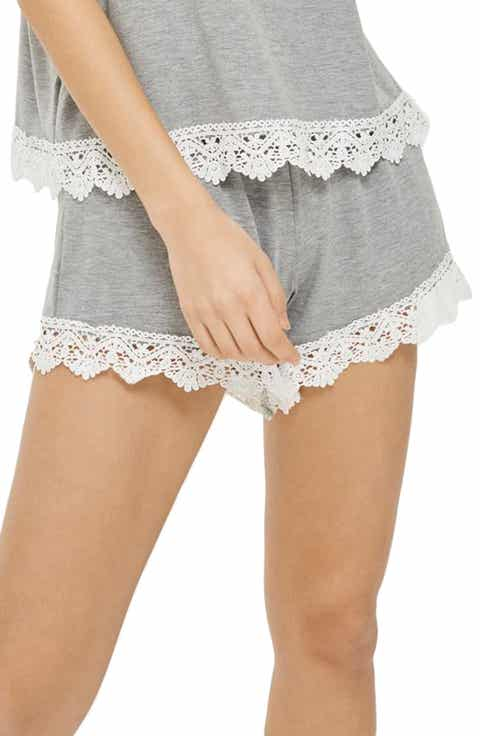 Topshop Crochet Trim Pajama Shorts