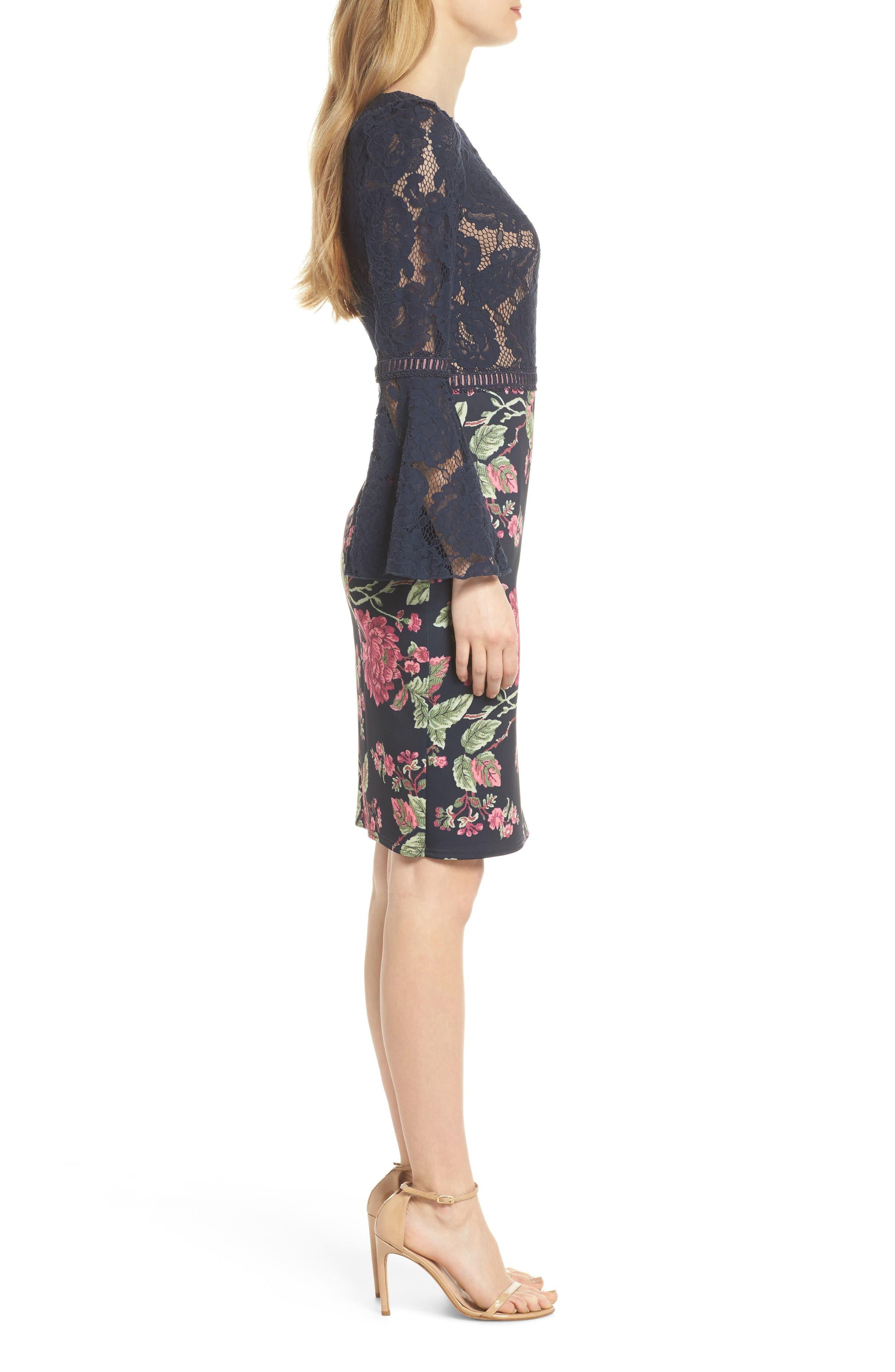 Lace & Neoprene Bell Sleeve Dress,                             Alternate thumbnail 3, color,                             Navy