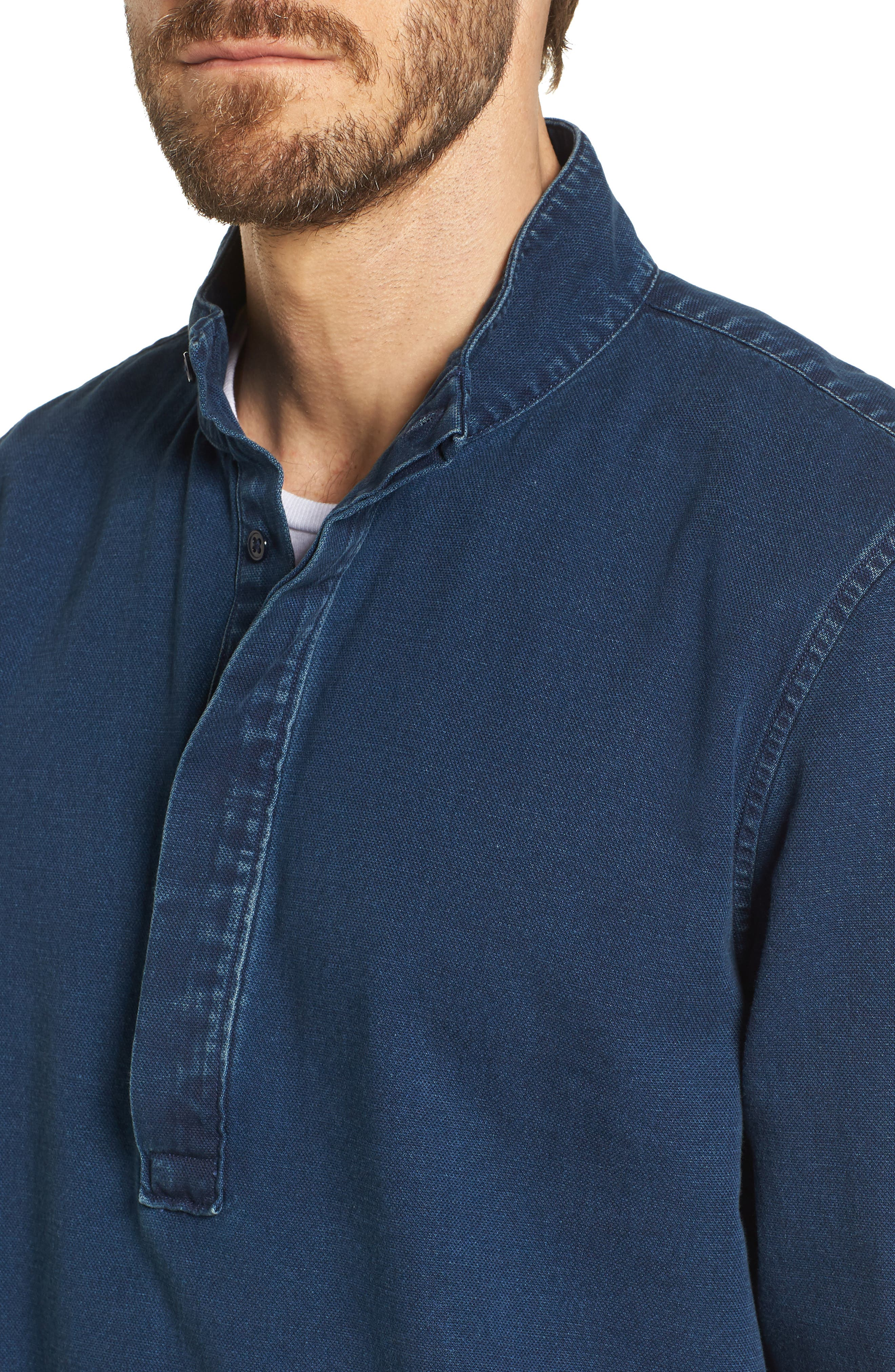 Band Collar Piqué Shirt,                             Alternate thumbnail 2, color,                             Indigo