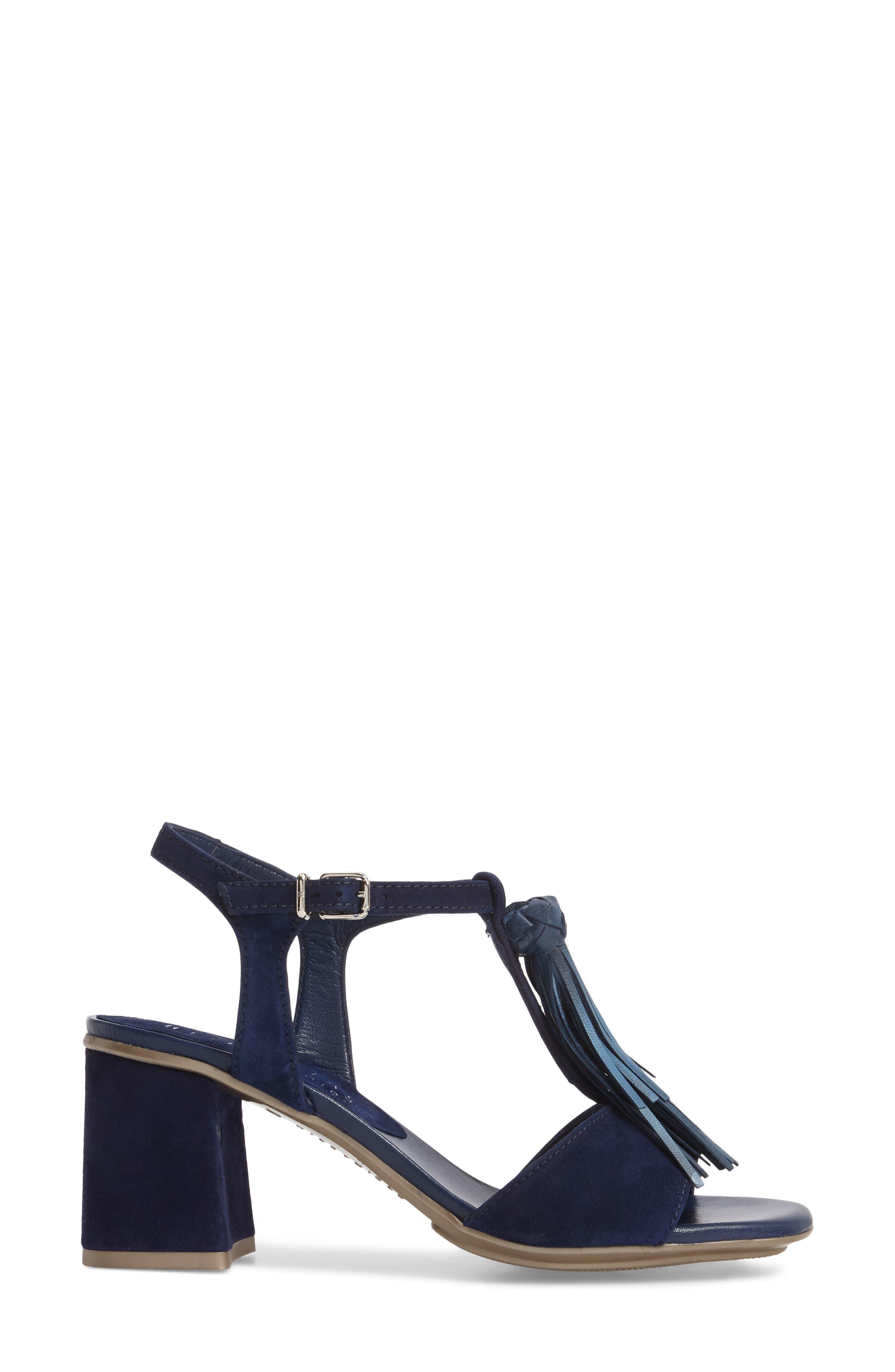 Schulyer T-Strap Sandal,                             Alternate thumbnail 3, color,                             Jeans Leather