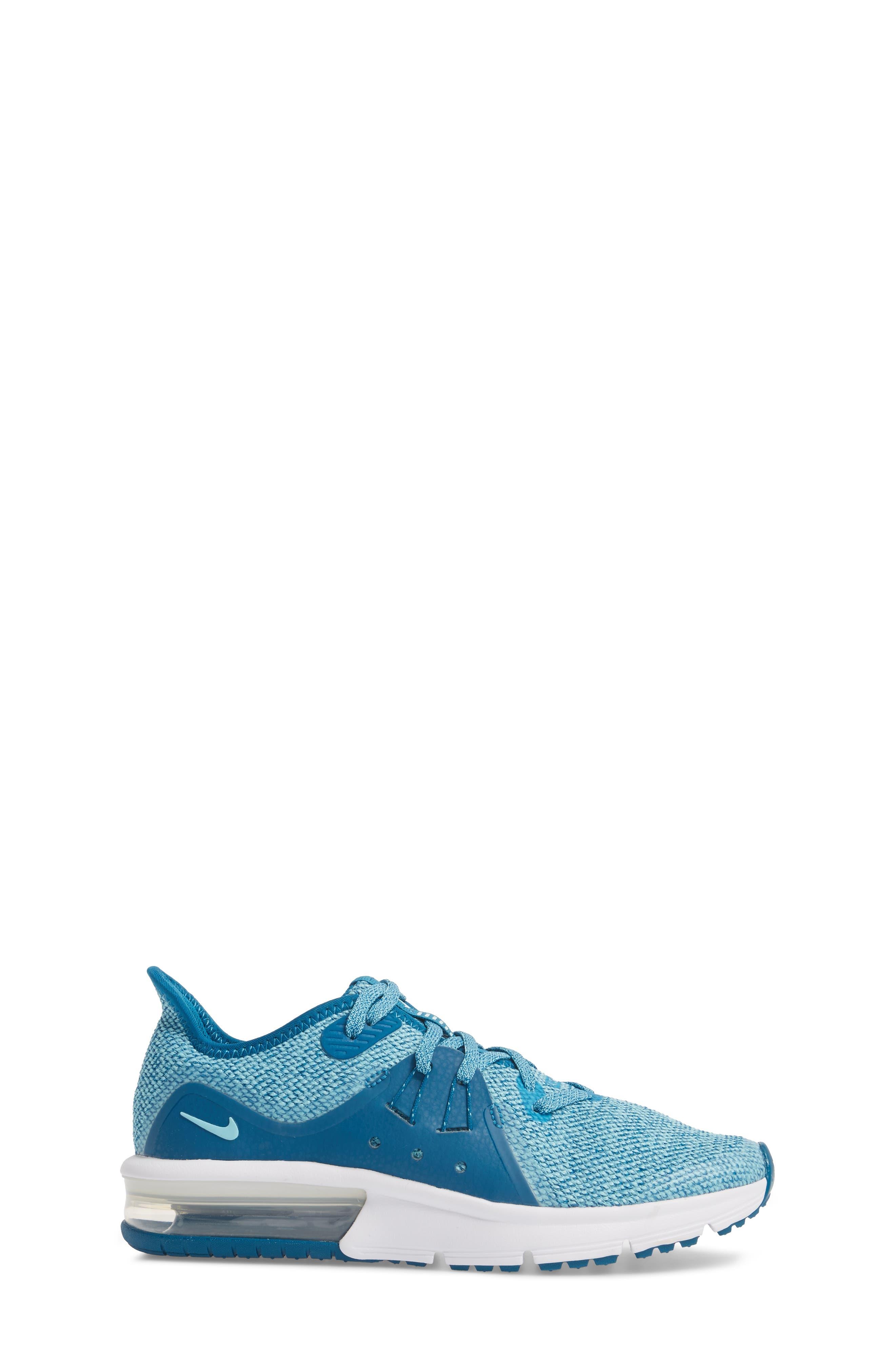 Air Max Sequent 3 GS Running Shoe,                             Alternate thumbnail 4, color,                             Green/ Igloo/ Bleached Aqua